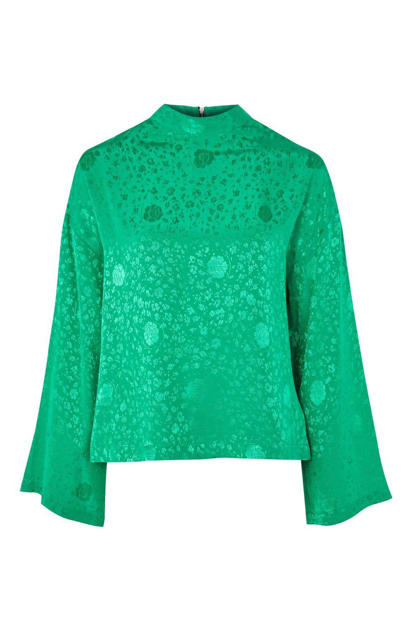 Jacquard Kimono Sleeve Top,                             Alternate thumbnail 4, color,                             Bright Green