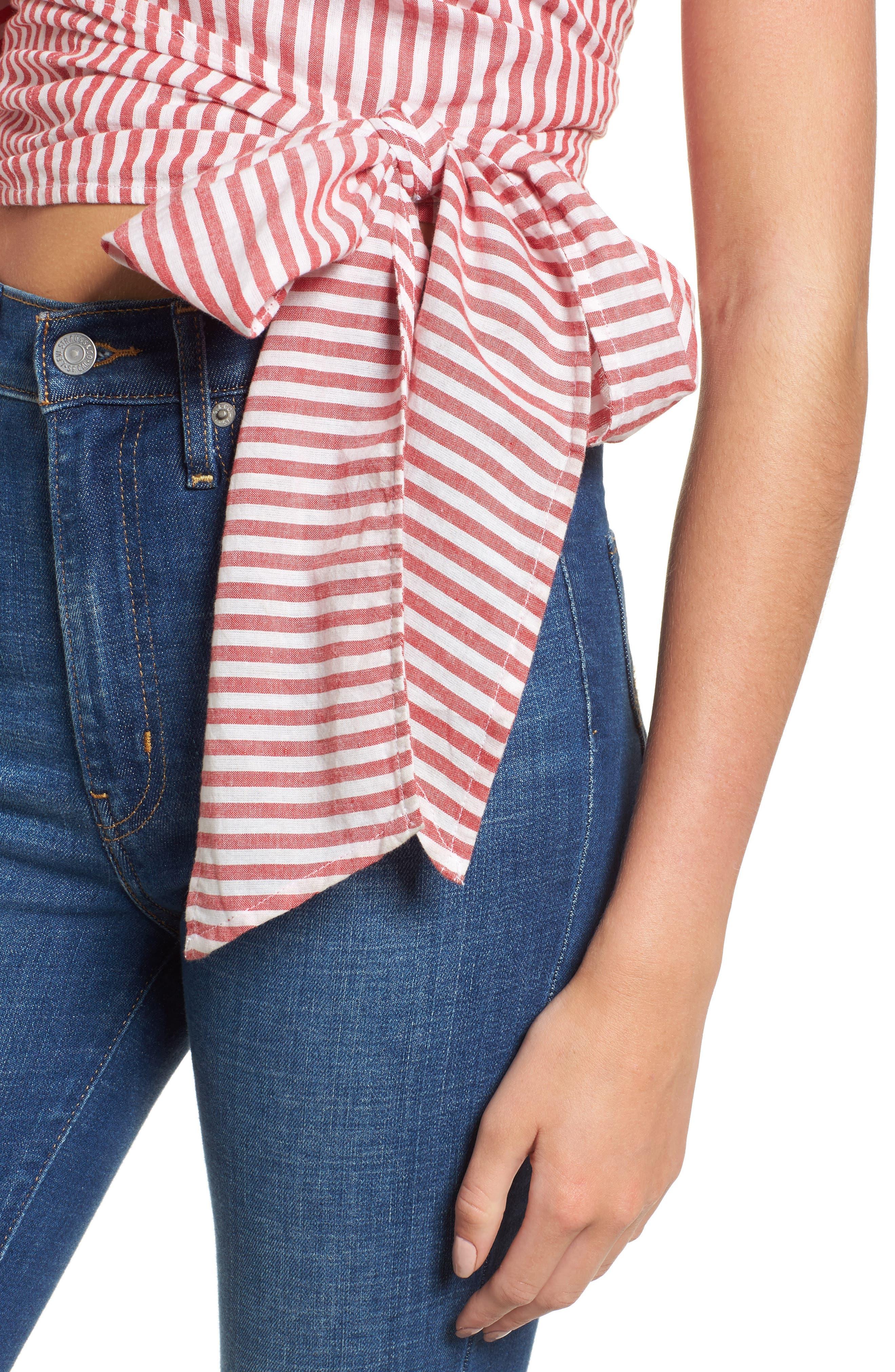 L'Academie Reckless One-Shoulder Wrap Blouse,                             Alternate thumbnail 4, color,                             Red/ White Stripe