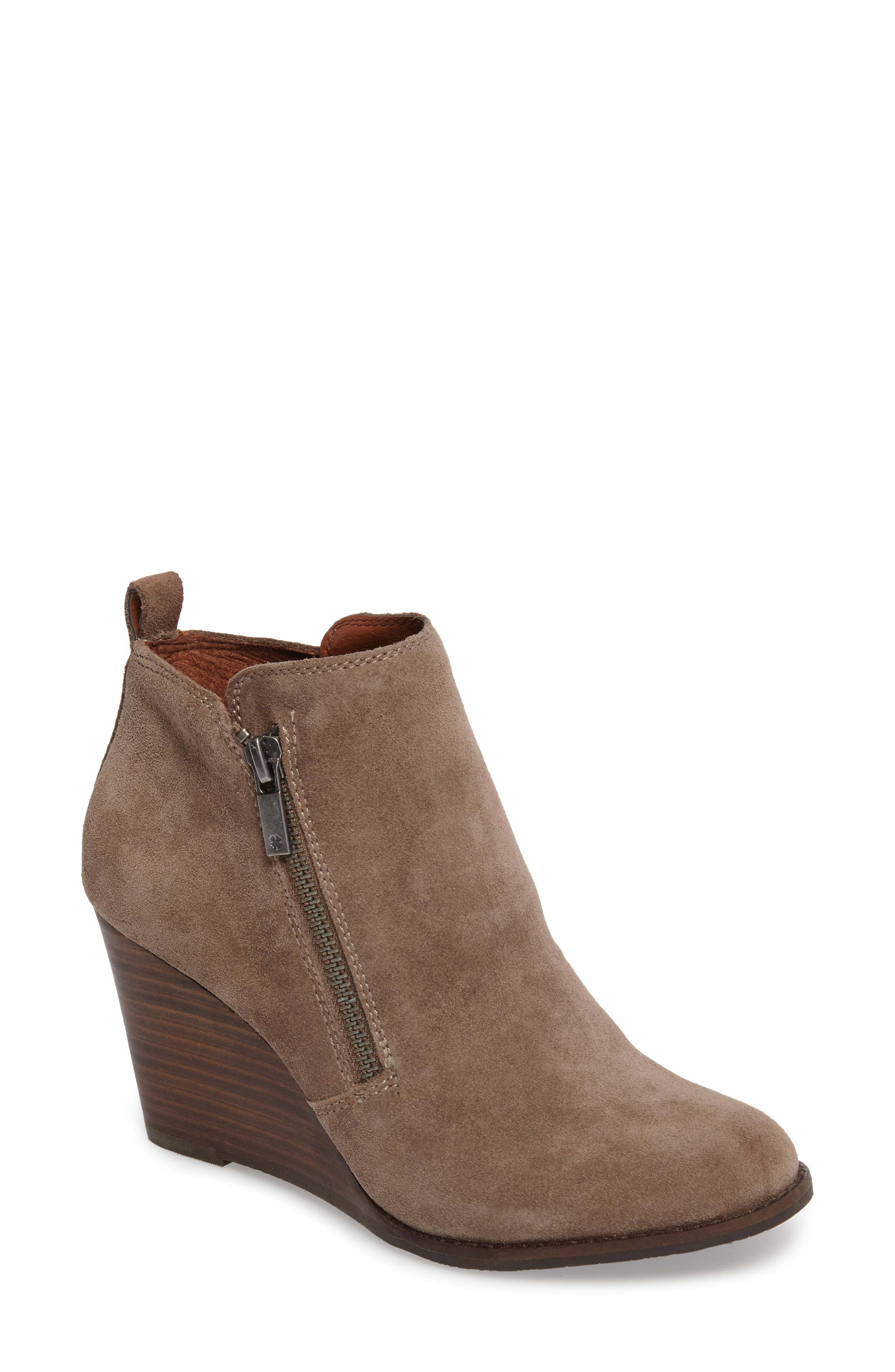 Yesterr Wedge Bootie,                             Main thumbnail 1, color,                             Brindle Suede