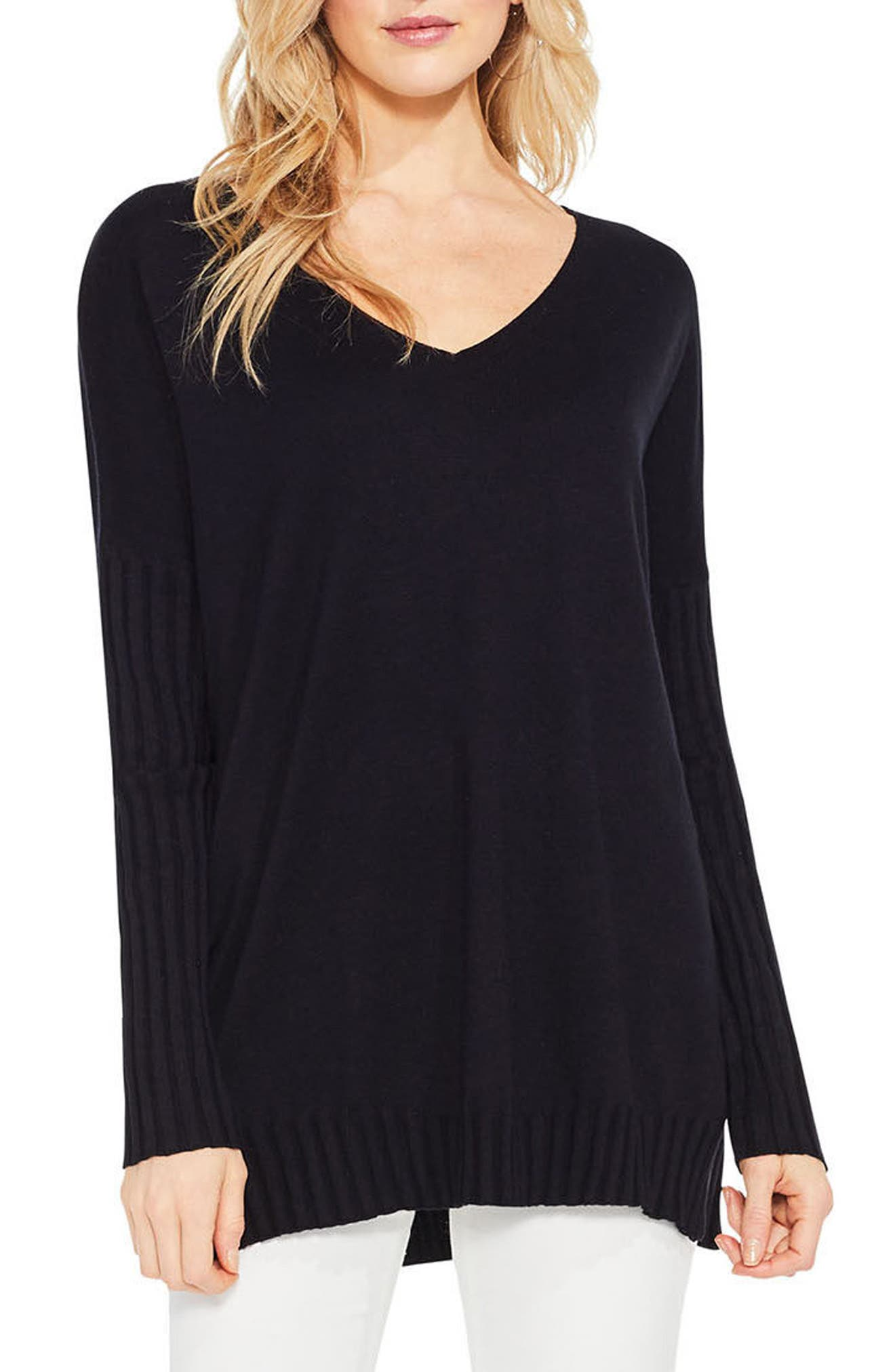 Ribbed Sleeve Sweater,                         Main,                         color, Rich Black