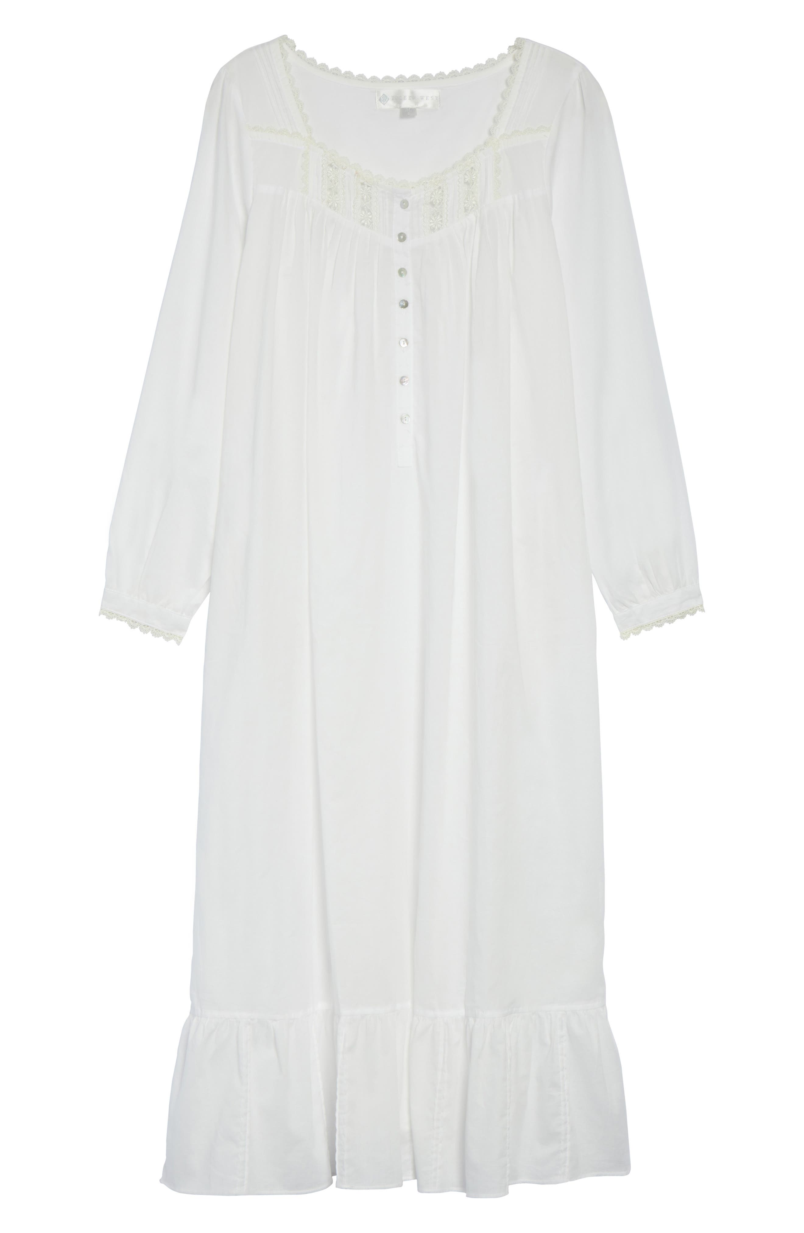 Alternate Image 6  - Eileen West Long Sleeve Lawn Nightgown