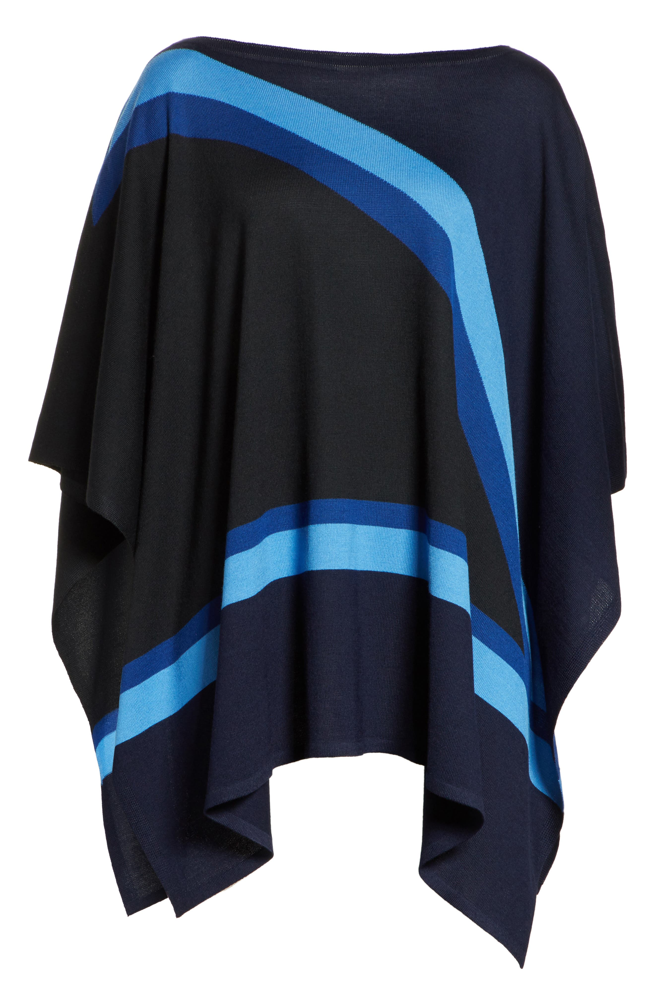 Intarsia Knit Jersey Poncho,                             Alternate thumbnail 7, color,                             Navy Multi