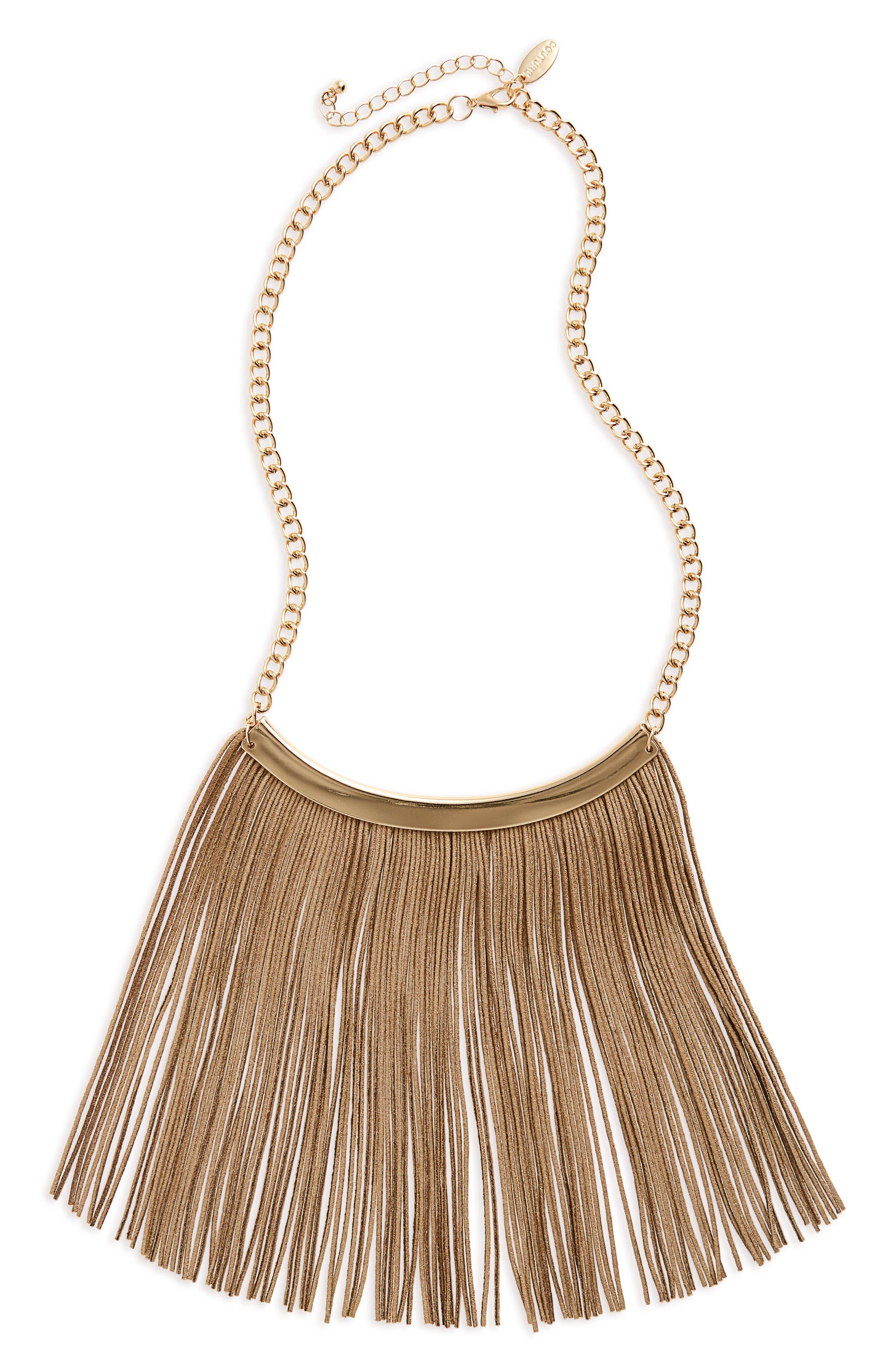 Couture Liquid Fringe Bib Necklace,                         Main,                         color, Gold