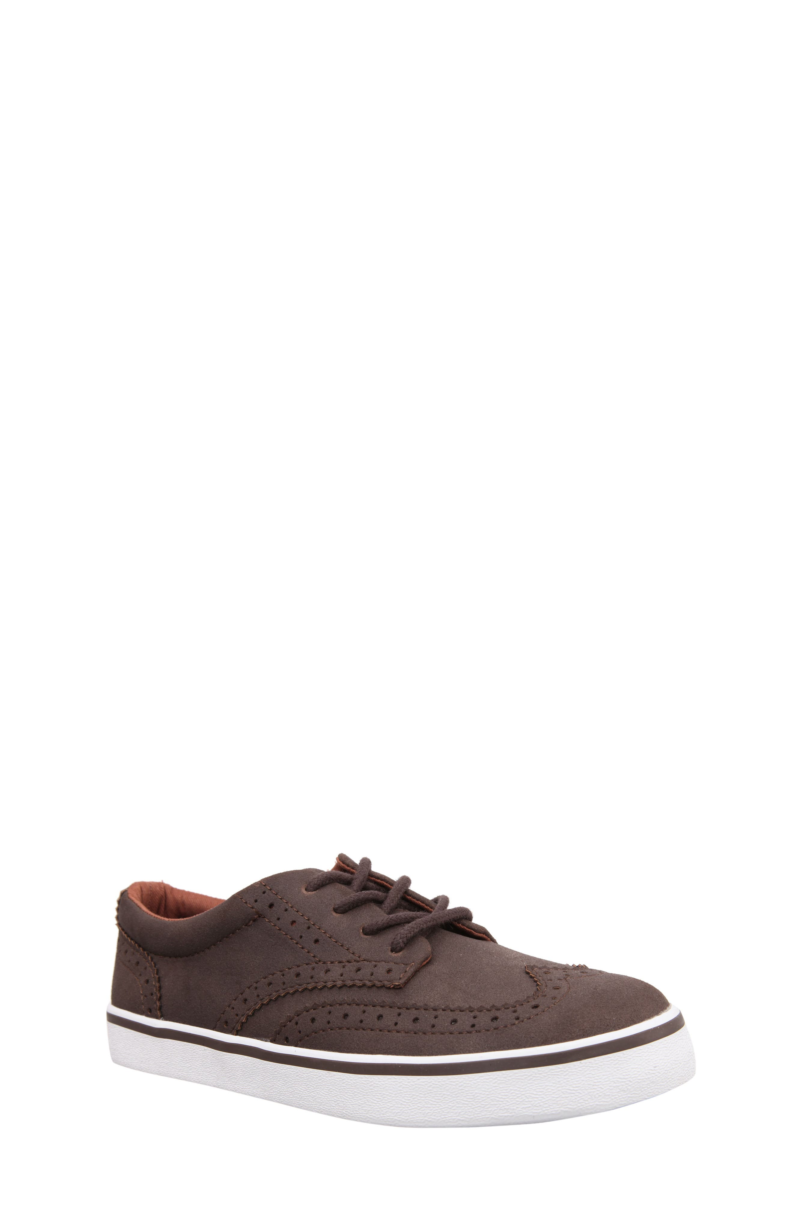 Wingtip Sneaker,                             Main thumbnail 1, color,                             Brown Faux Suede