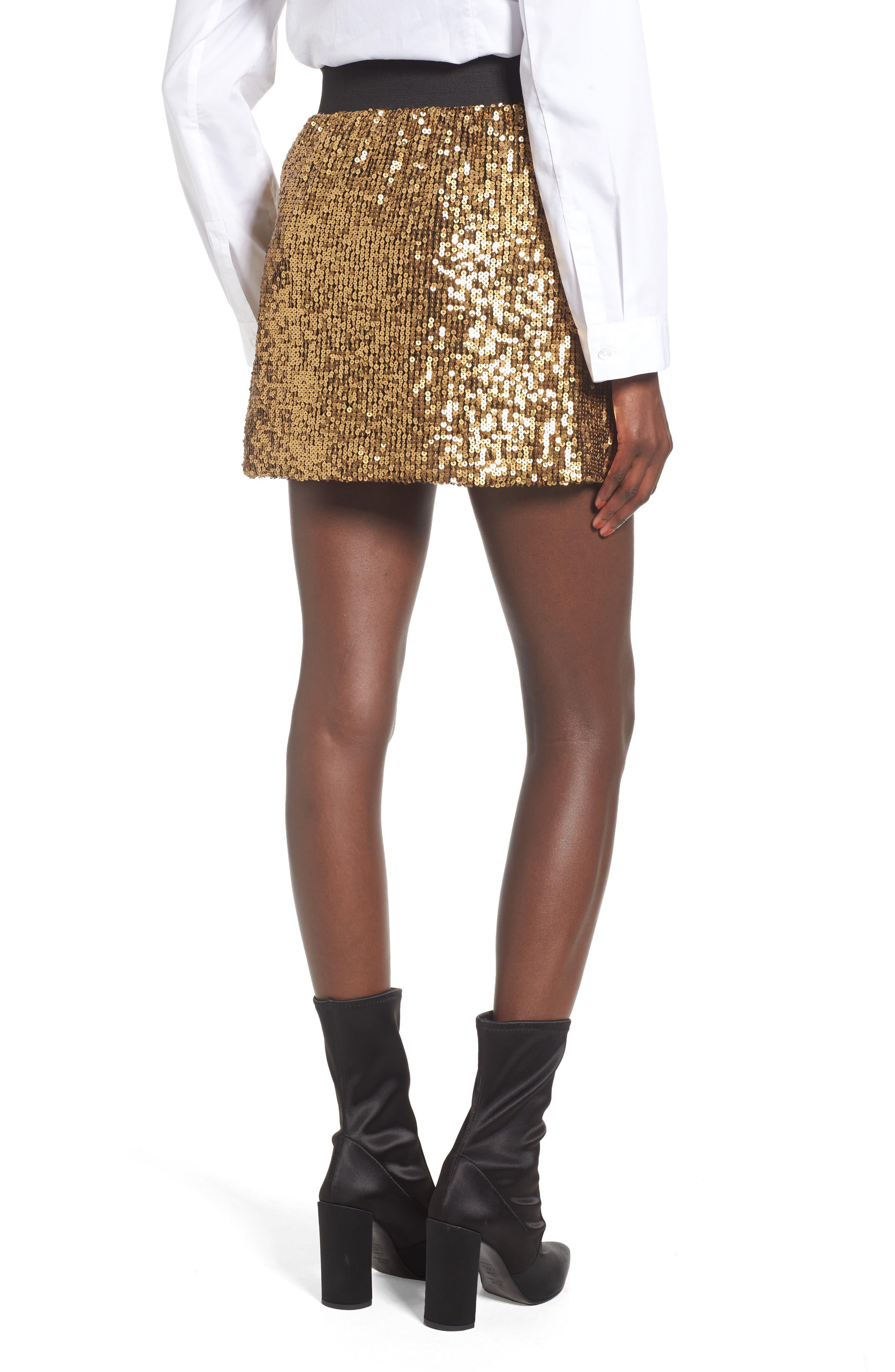 Sequin Miniskirt,                             Alternate thumbnail 3, color,                             Metallic Gold