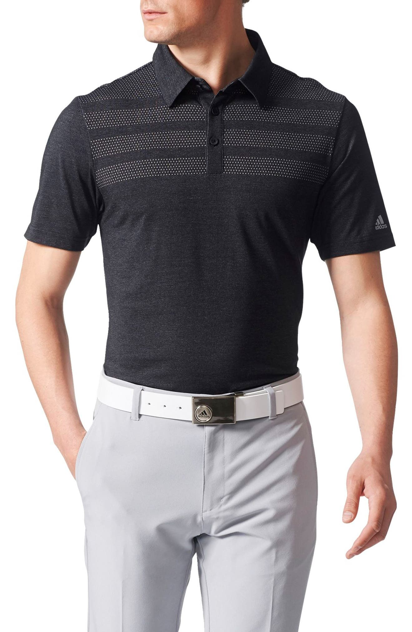 Climacool<sup>®</sup> 3-Stripes Mapped Polo,                         Main,                         color, Black