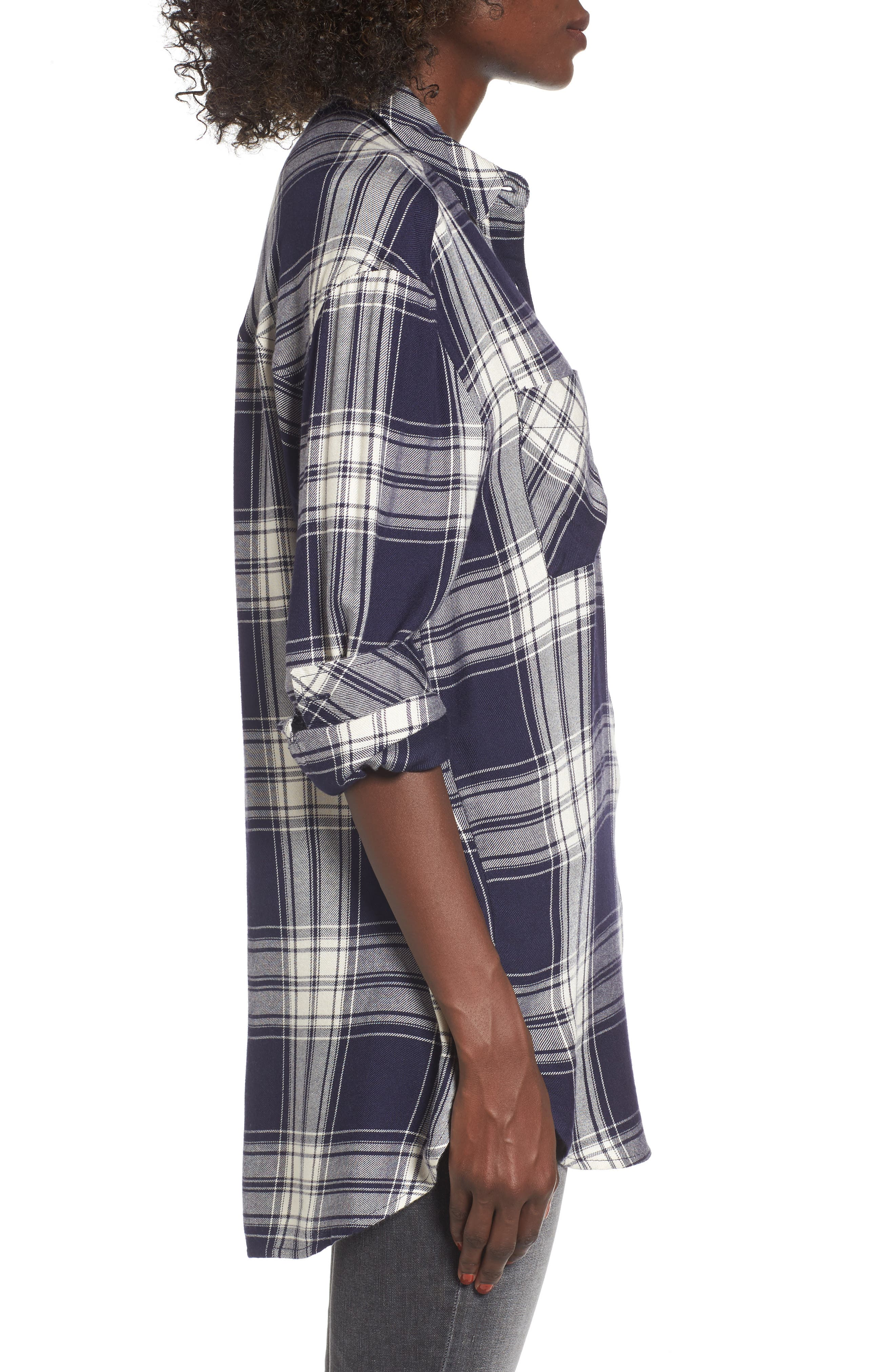 Oversize Flannel Shirt,                             Alternate thumbnail 3, color,                             Navy Peacoat Rose Plaid