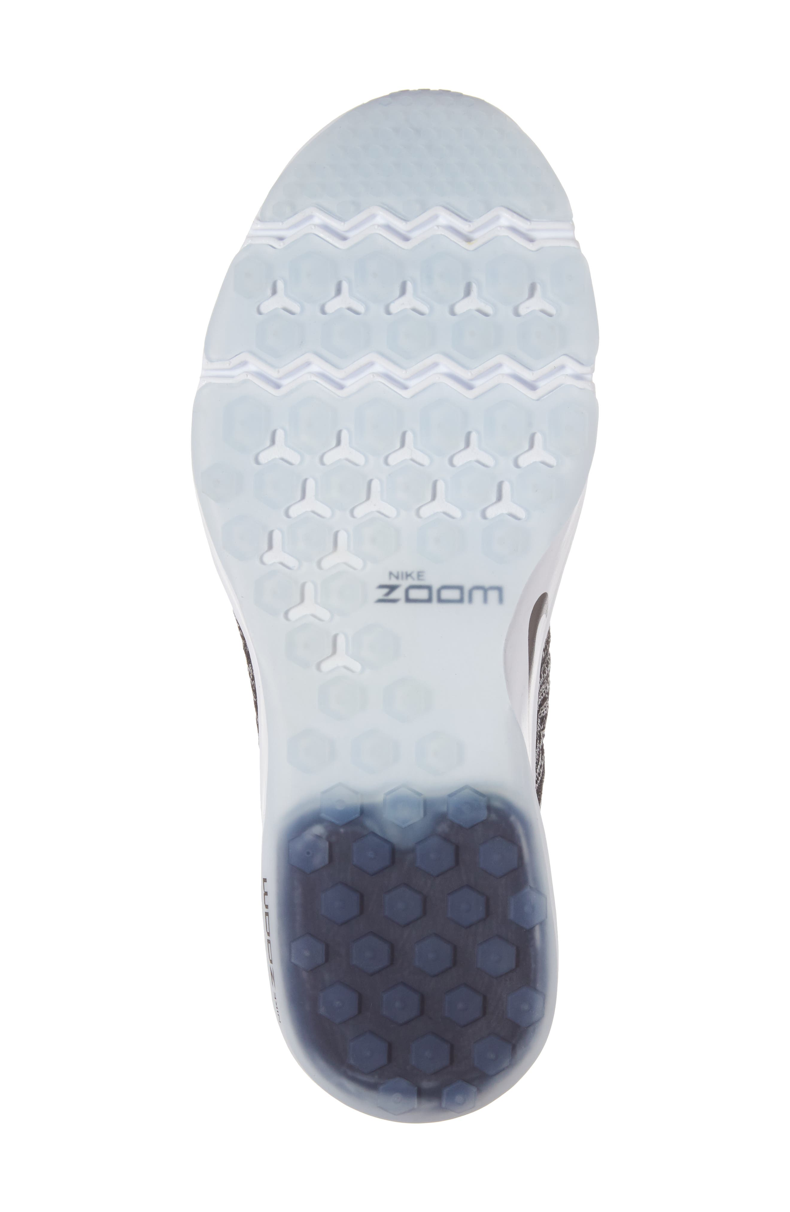 Air Zoom Fearless Flyknit Training Shoe,                             Alternate thumbnail 6, color,                             Black/ White/ White