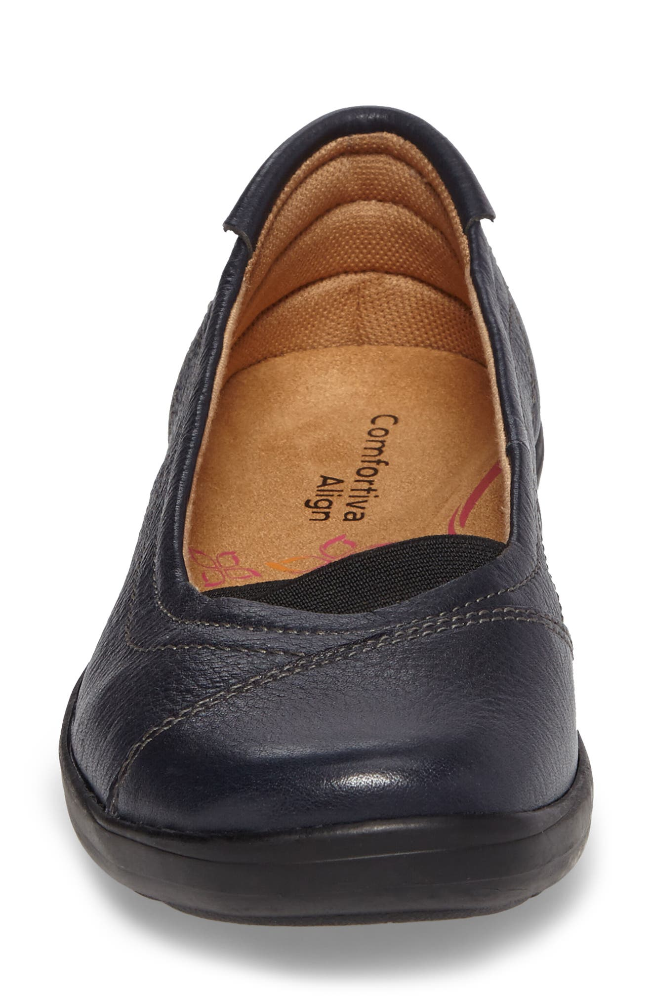 Renee Flat,                             Alternate thumbnail 4, color,                             Navy Leather