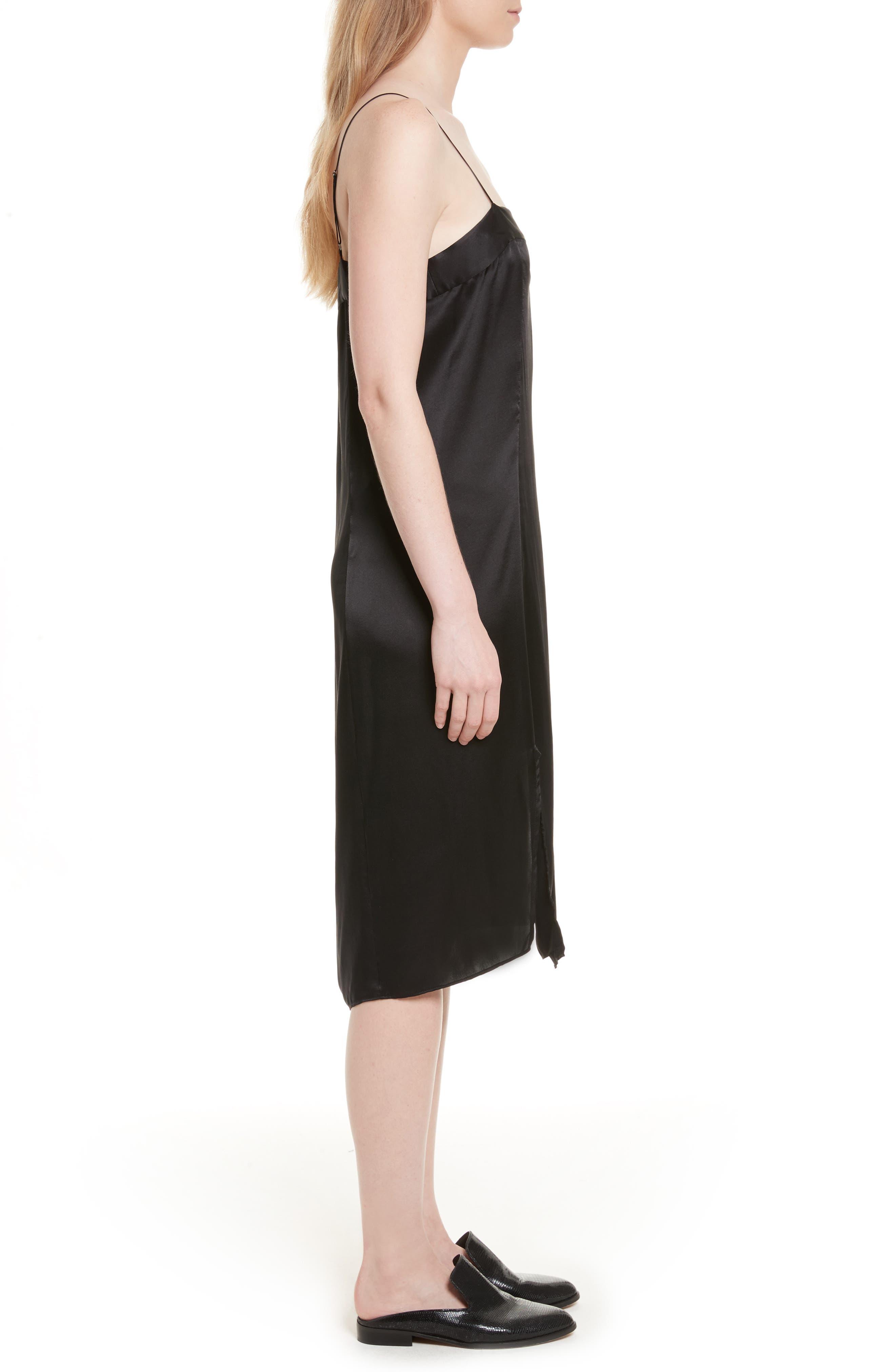 Kelby Silk Slipdress,                             Alternate thumbnail 3, color,                             True Black