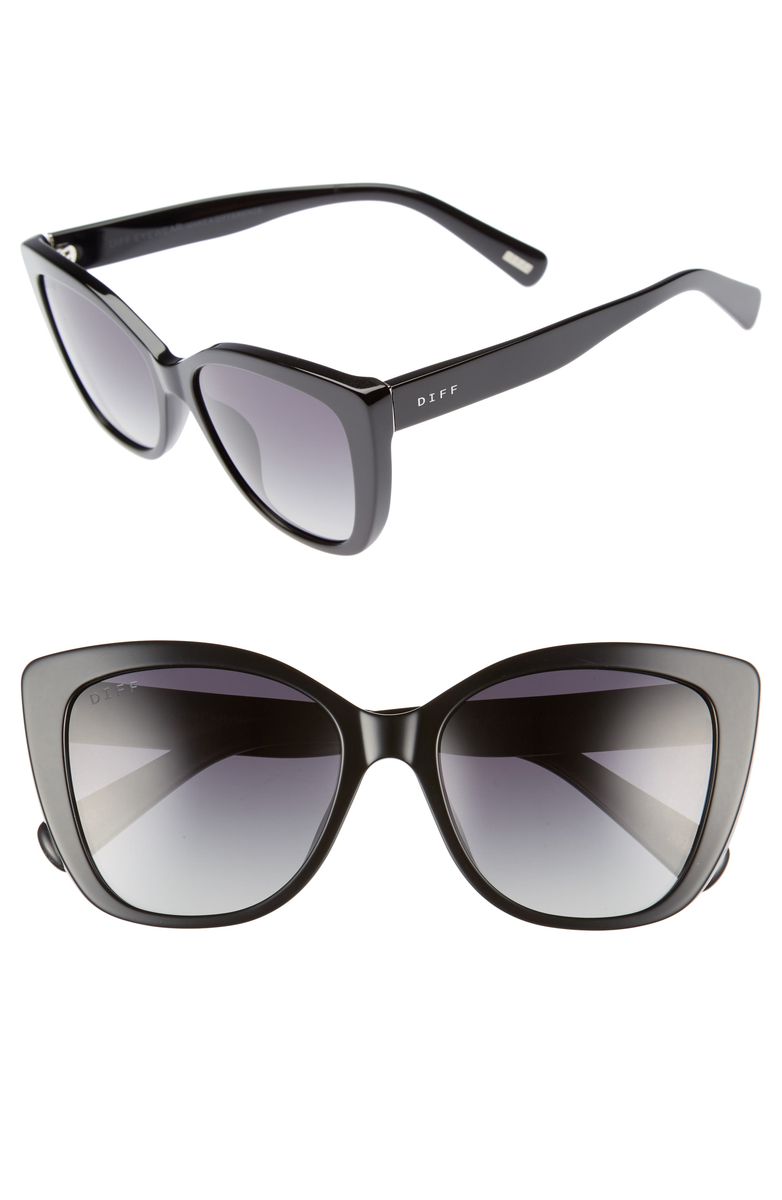 Ruby 54mm Polarized Sunglasses,                             Main thumbnail 1, color,                             Black/ Grey