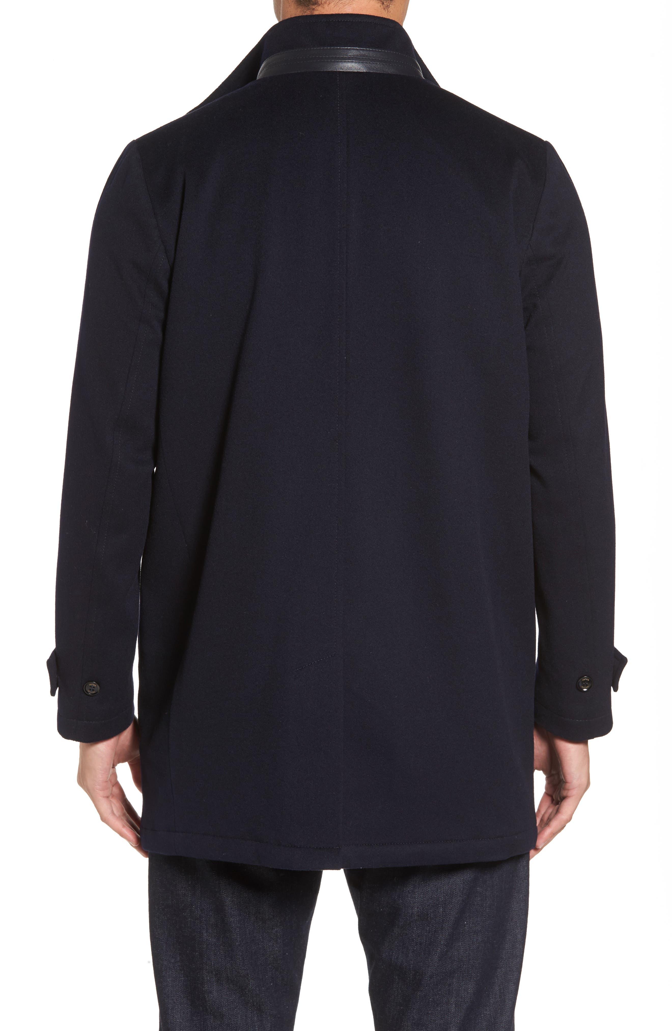 Peter Millar Horizon Wool Overcoat,                             Alternate thumbnail 3, color,                             Black