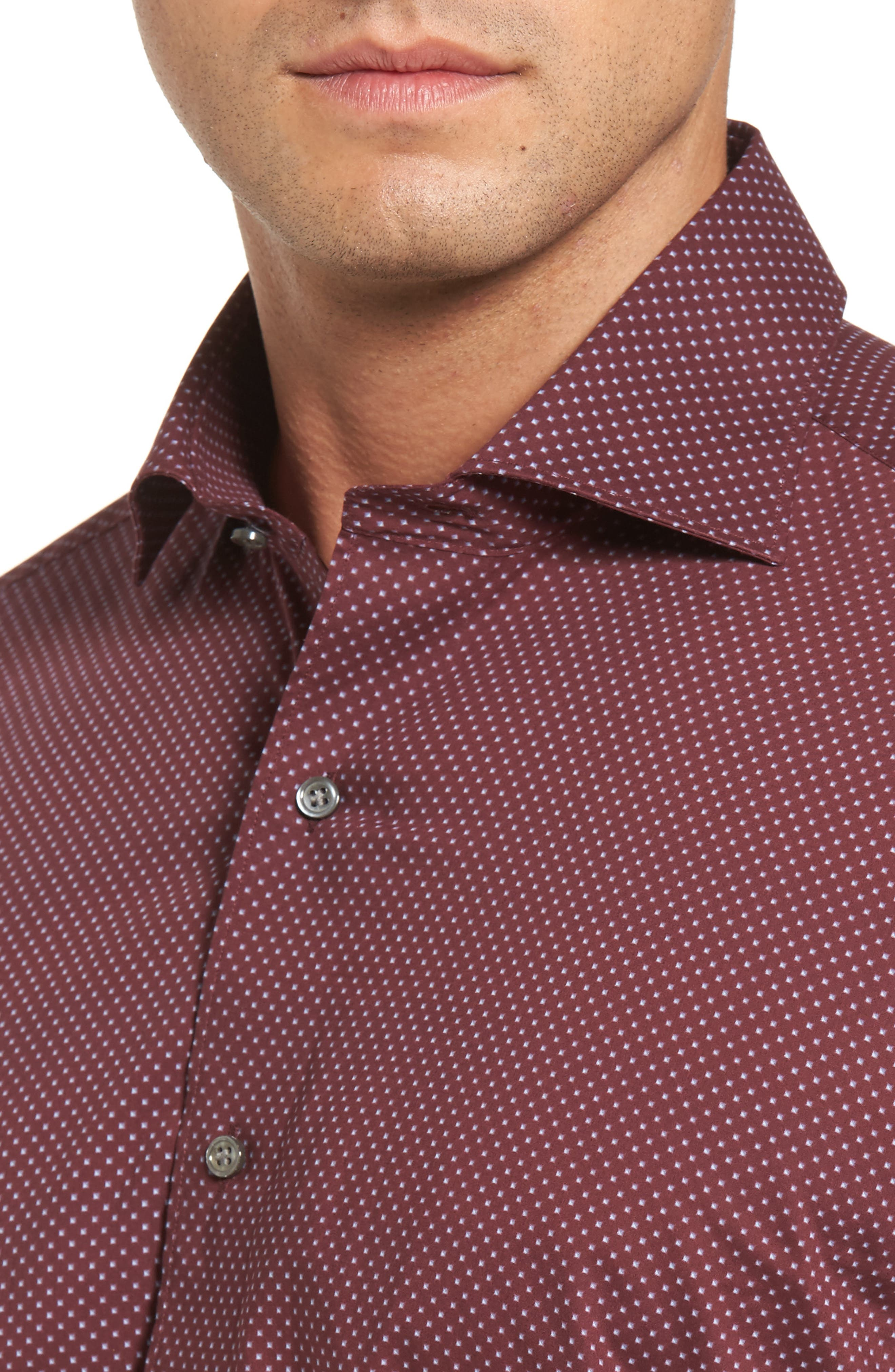 Peter Millar Woodland Fjord Regular Fit Print Sport Shirt,                             Alternate thumbnail 4, color,                             Chianti