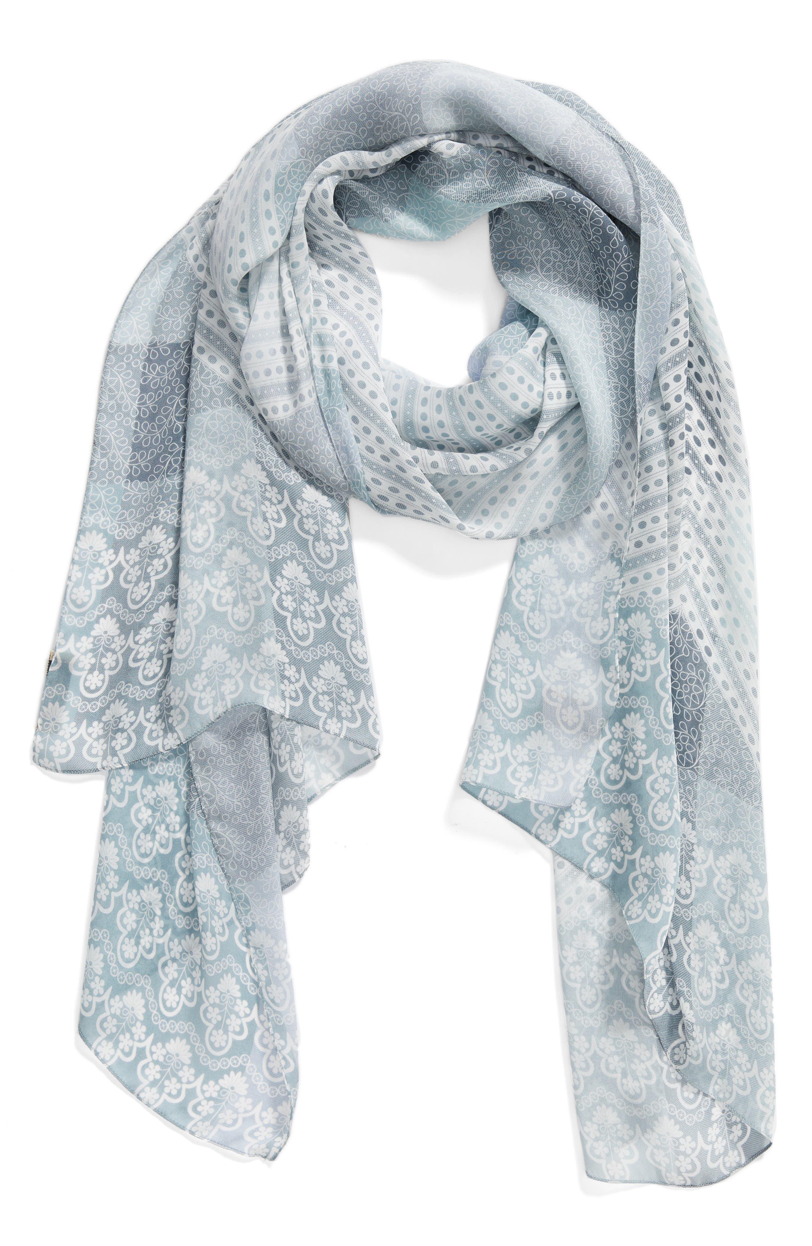 Ultra Mega Lace Silk Scarf,                         Main,                         color, Slate Blue