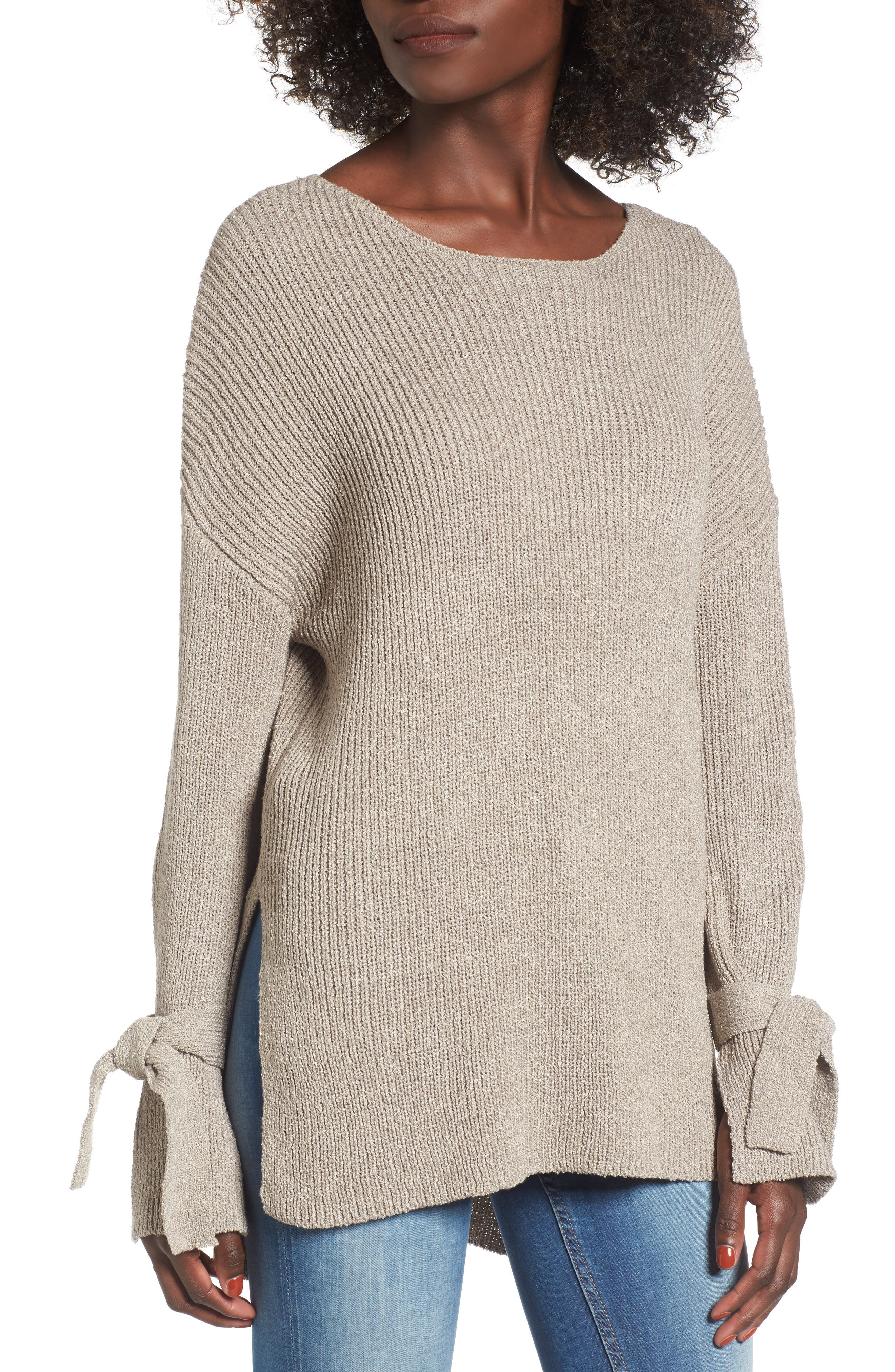 Tie Sleeve Sweater,                         Main,                         color, Taupe Grey