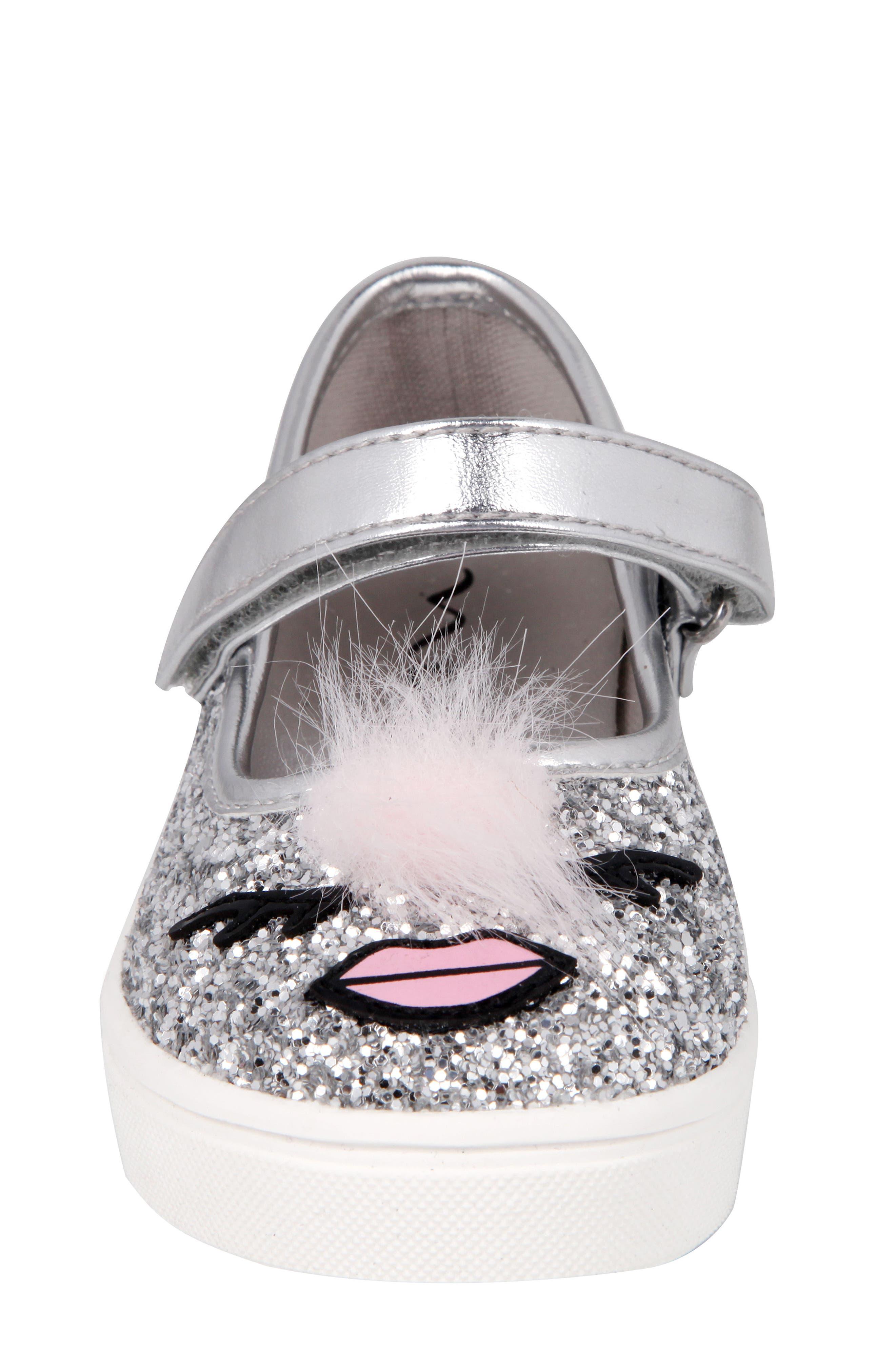 Ragina Faux Fur Glitter Mary Jane Sneaker,                             Alternate thumbnail 4, color,                             Silver Chunky Glitter