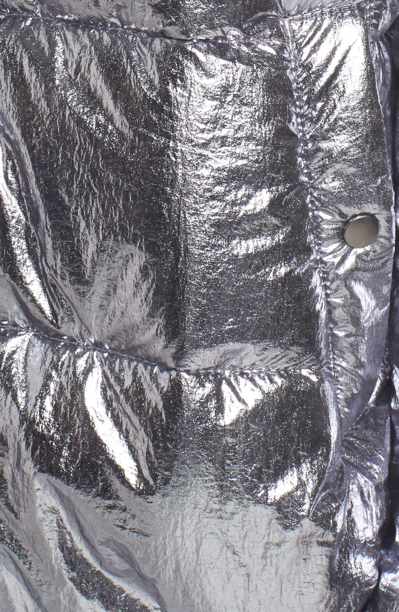 Short Puffer Jacket,                             Alternate thumbnail 4, color,                             Silver