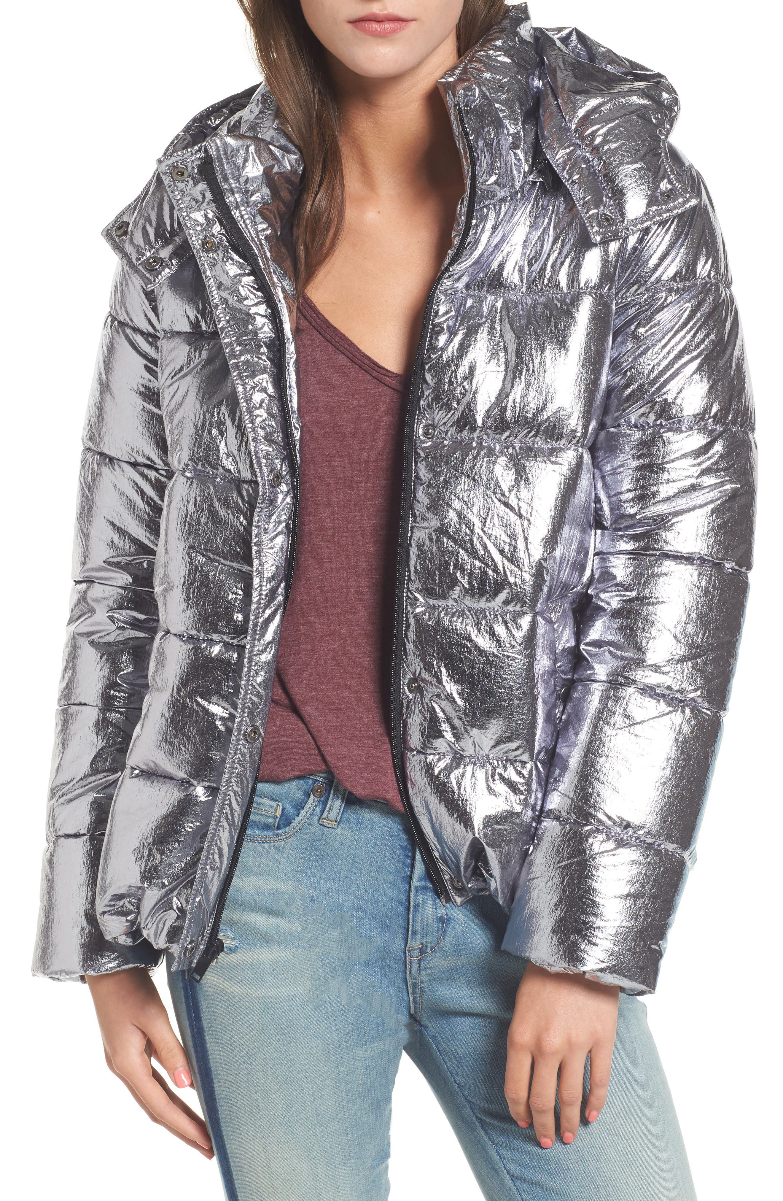 Short Puffer Jacket,                         Main,                         color, Silver