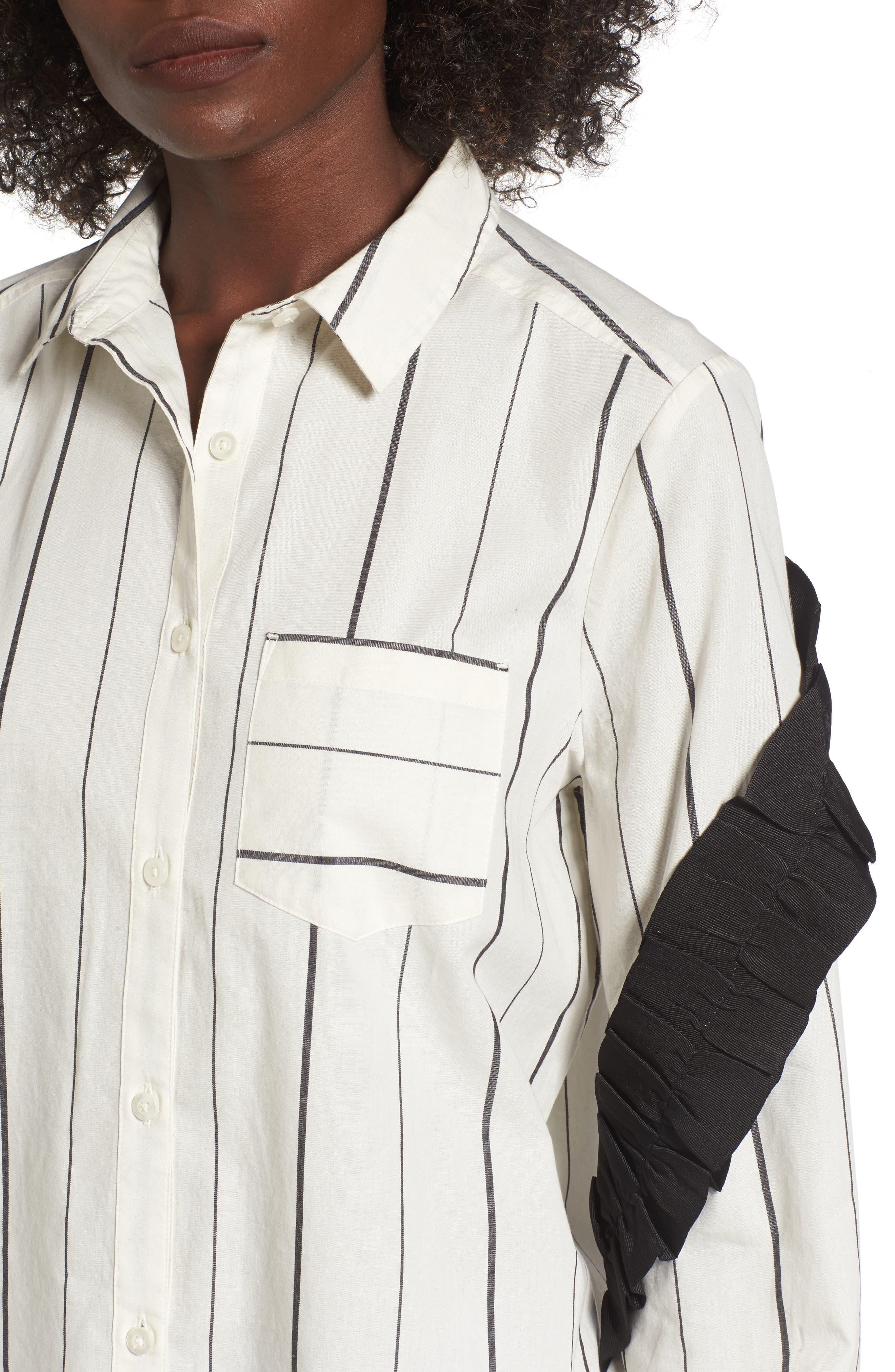 Grosgrain Ruffle Stripe Shirt,                             Alternate thumbnail 4, color,                             Ivory Egret Finn Stripe