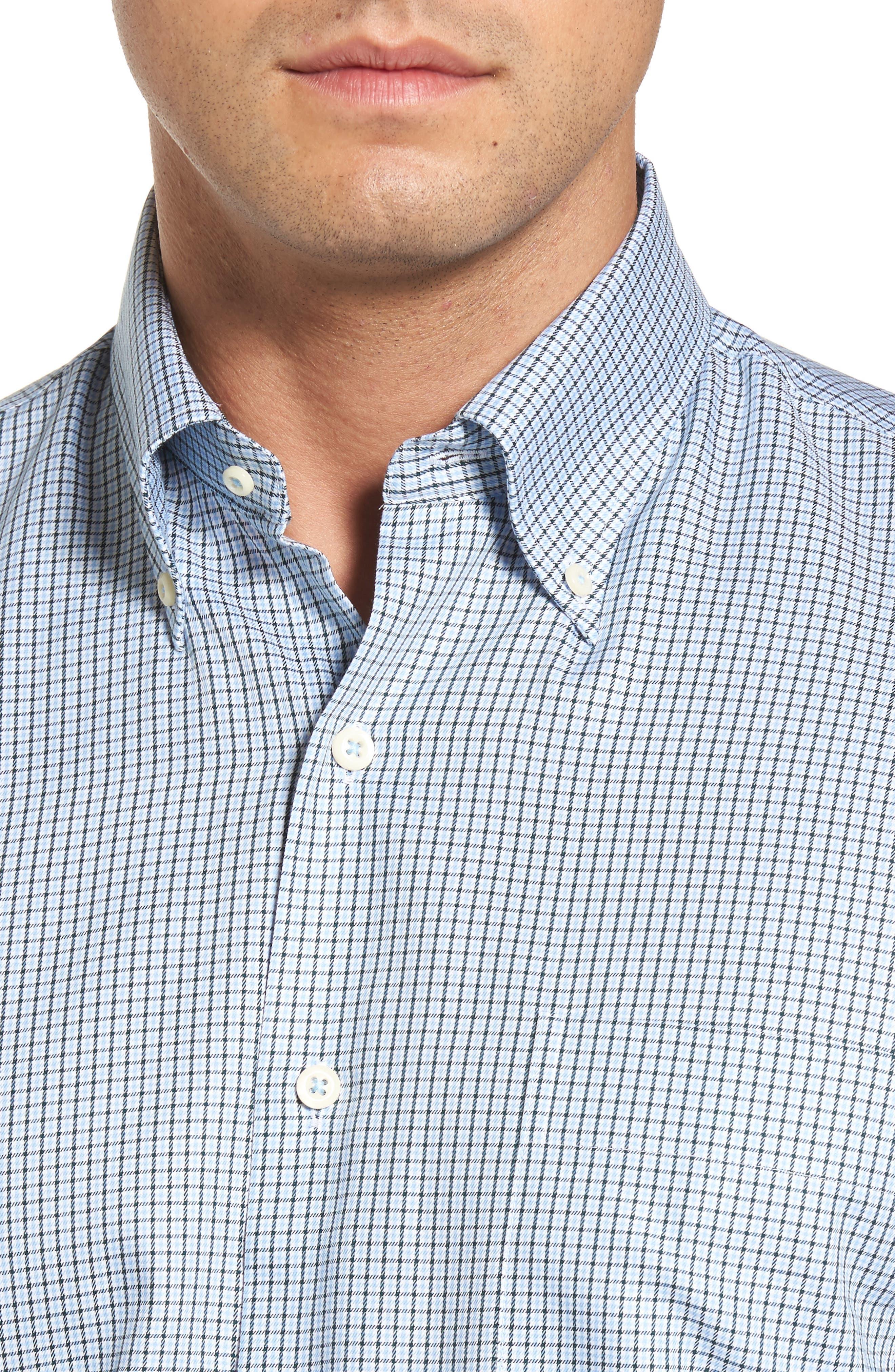 Elevation Regular Fit Check Sport Shirt,                             Alternate thumbnail 4, color,                             Tahoe Blue