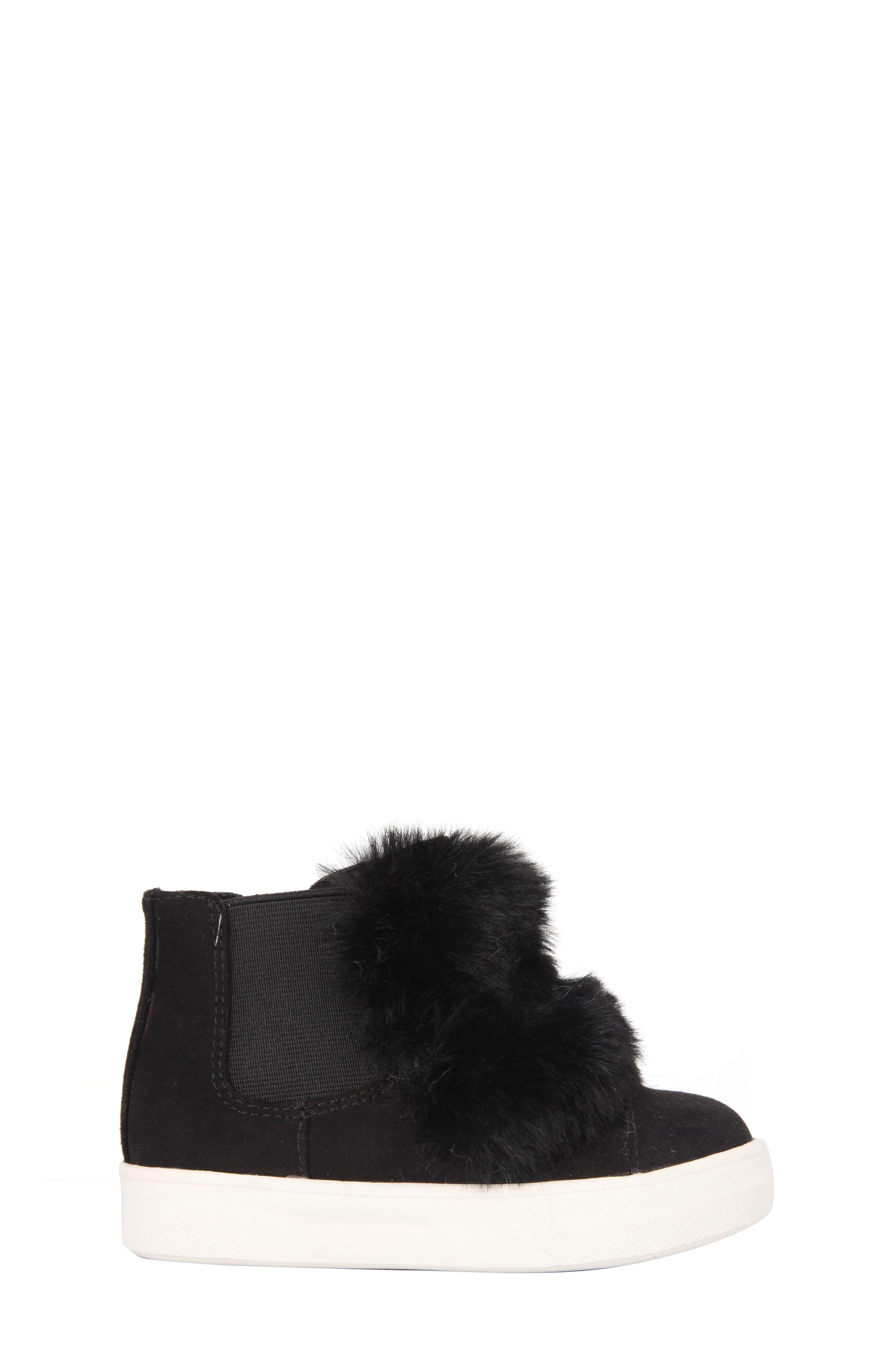 Helen Faux Fur Bootie Sneaker,                             Alternate thumbnail 3, color,                             Black Microsuede