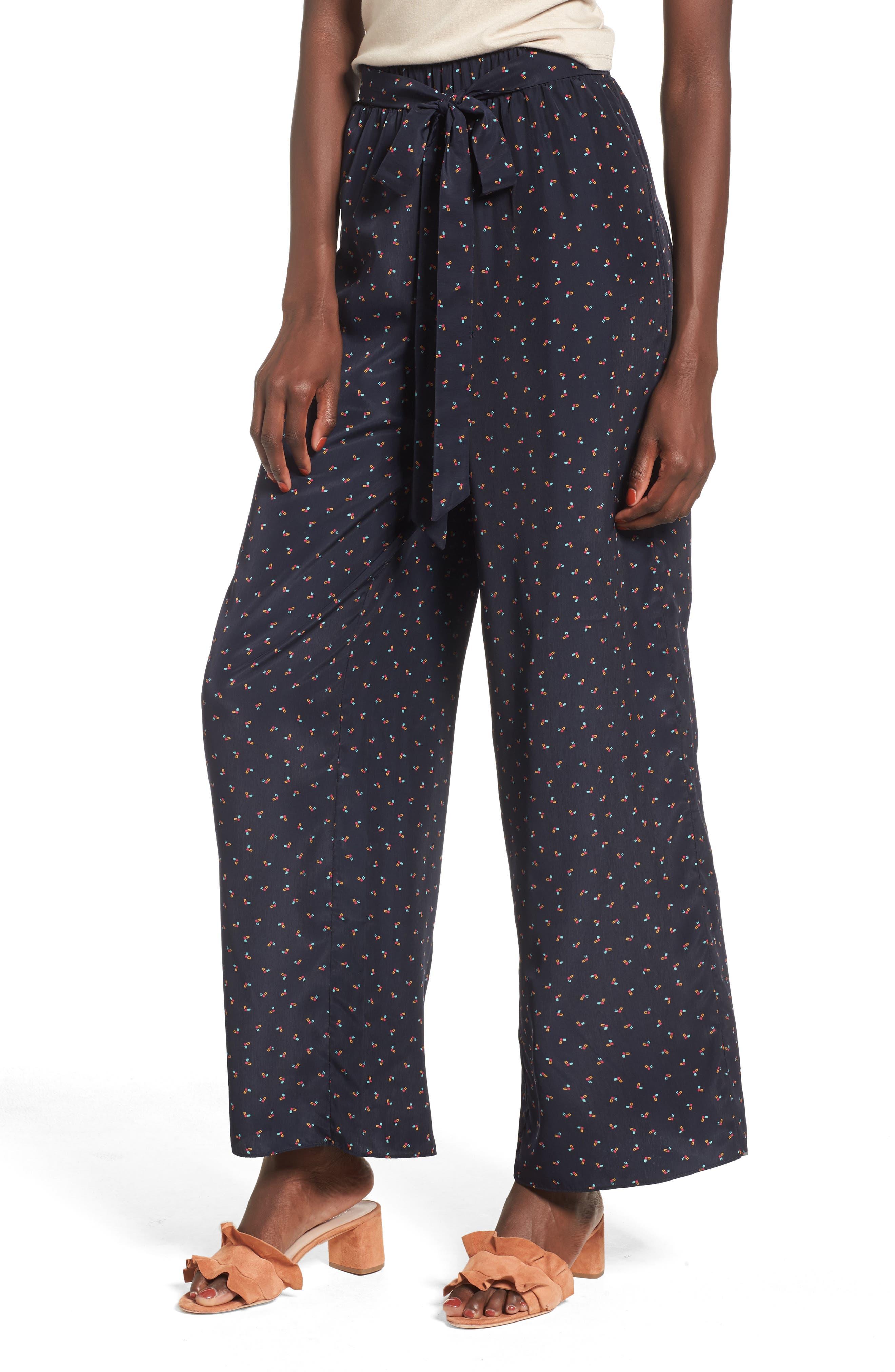 Floral Wide Leg Pants,                         Main,                         color, Navy Multi
