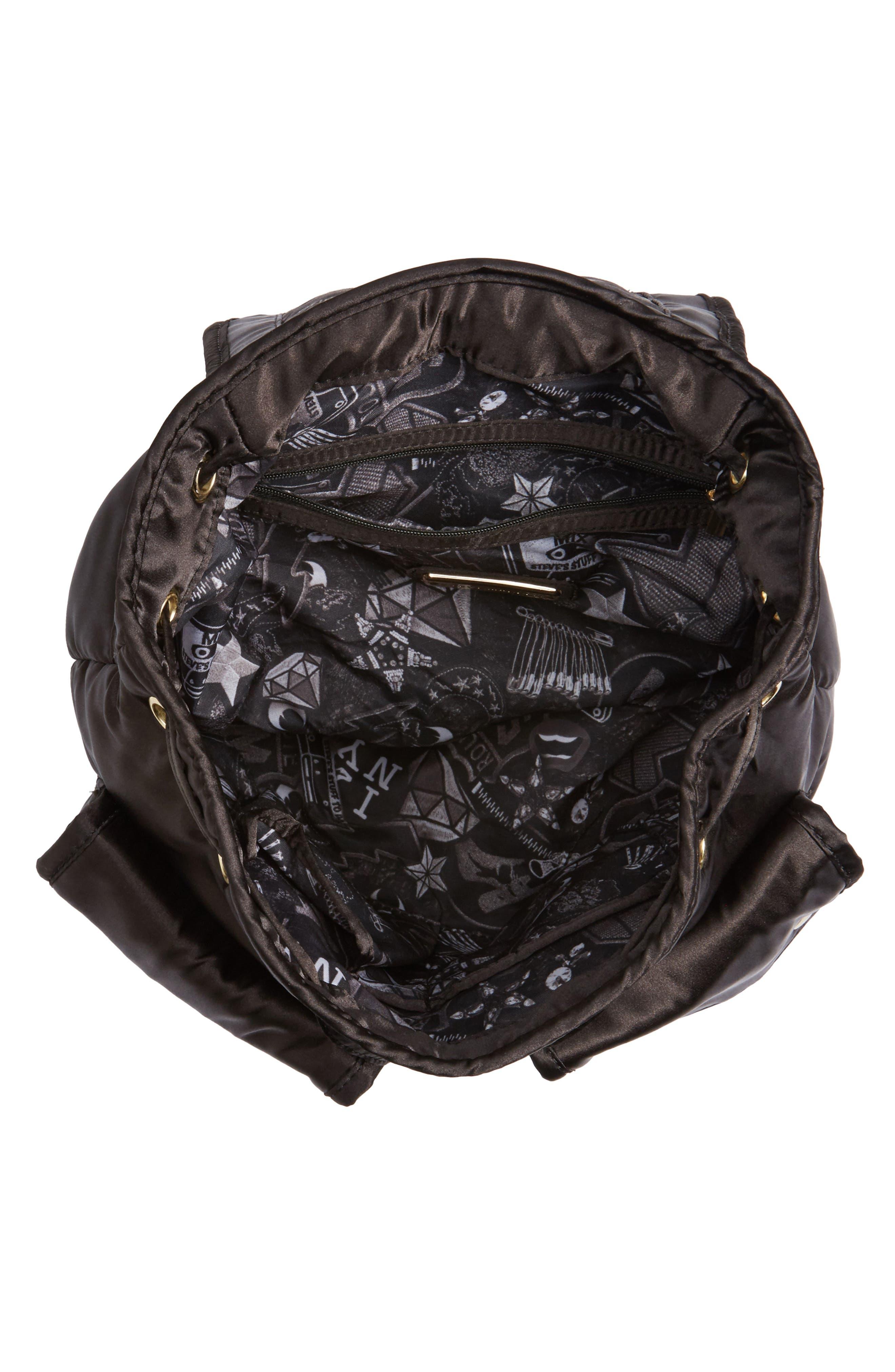 Small Satin Backpack,                             Alternate thumbnail 4, color,                             Black