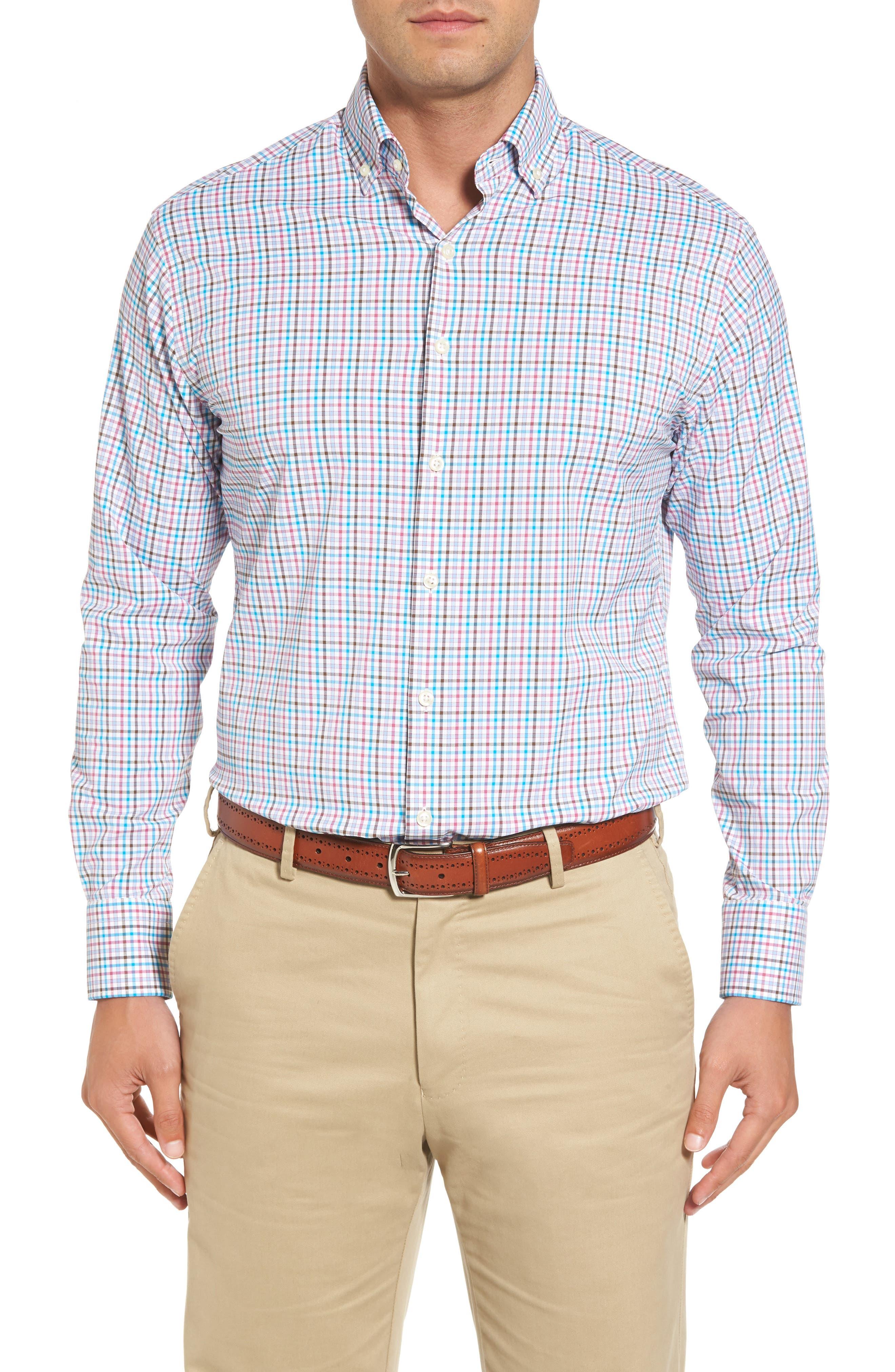 Post Regular Fit Check Performance Sport Shirt,                         Main,                         color, White
