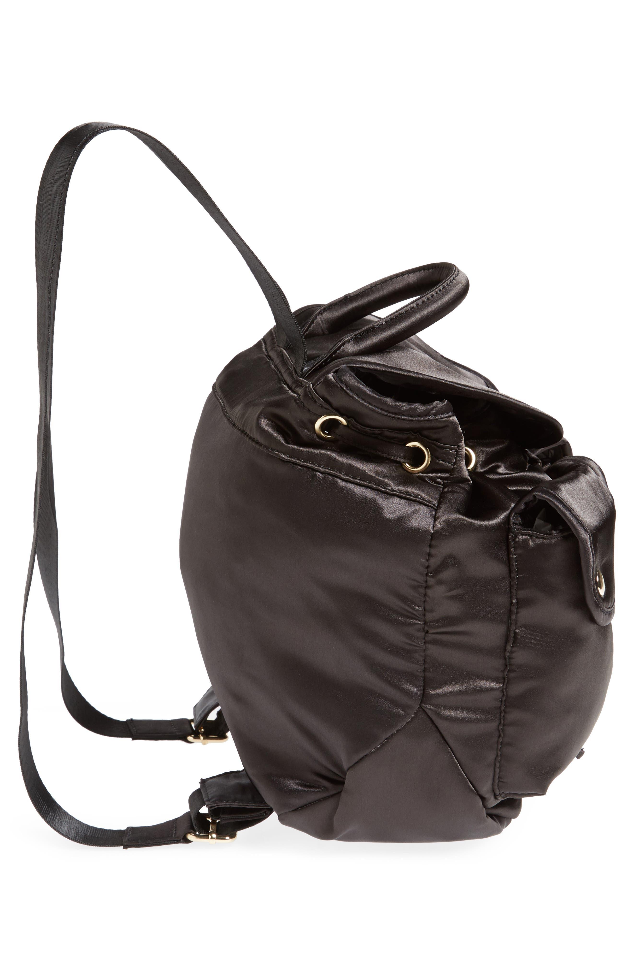 Small Satin Backpack,                             Alternate thumbnail 3, color,                             Black