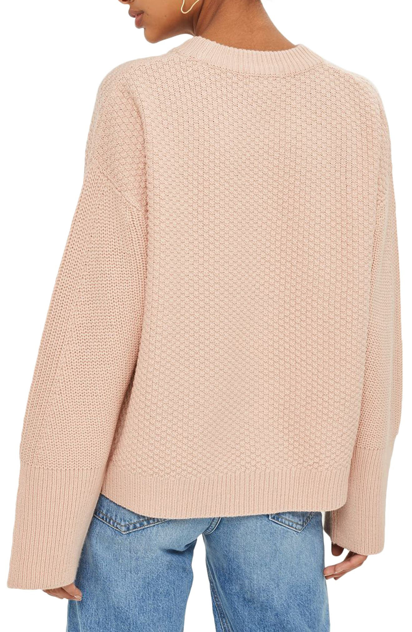 Wide Sleeve Sweater,                             Alternate thumbnail 3, color,                             Nude