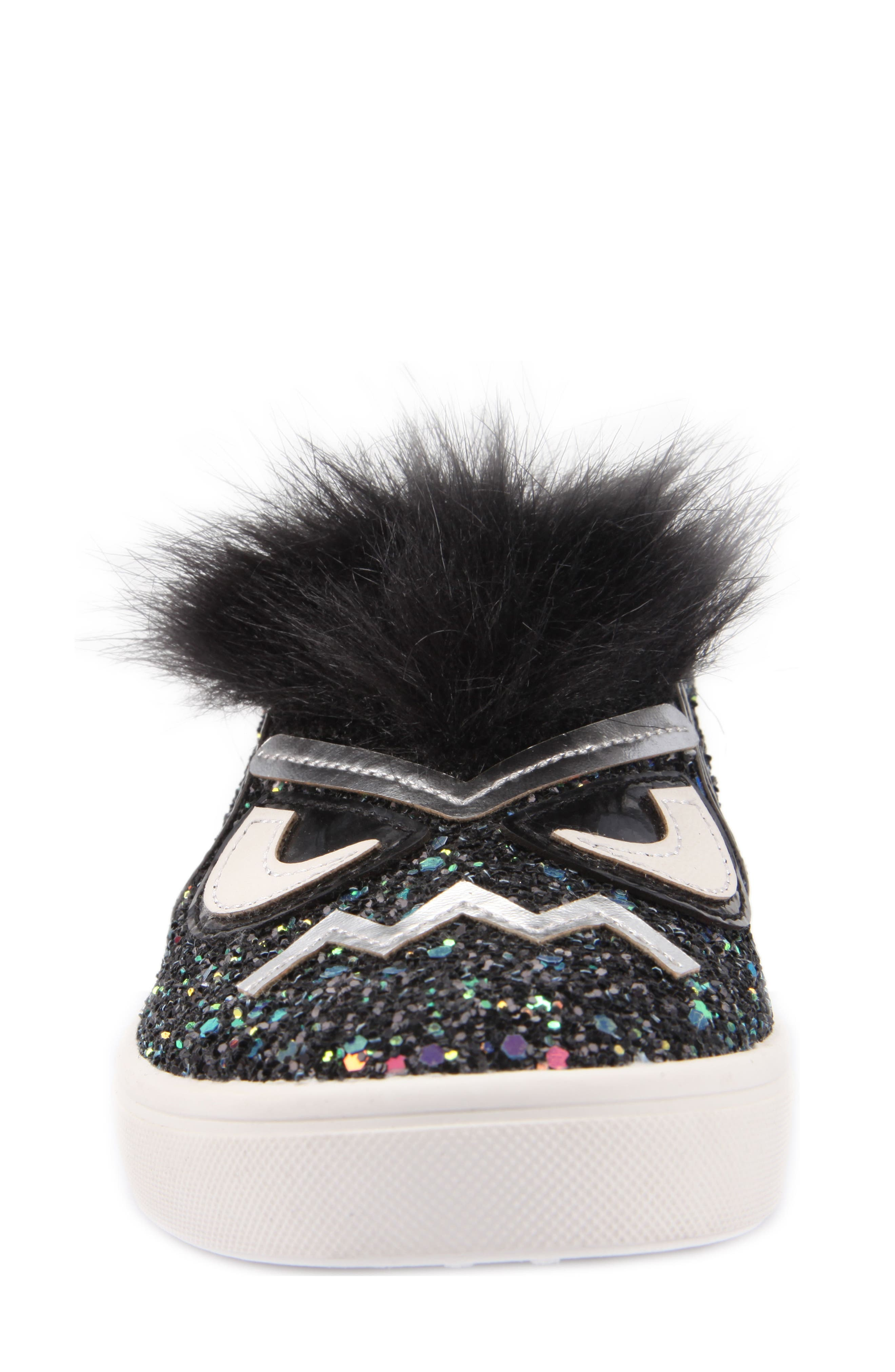 Alyx Faux Fur Glittery Slip-On Sneaker,                             Alternate thumbnail 4, color,                             Black Chunky Glitter