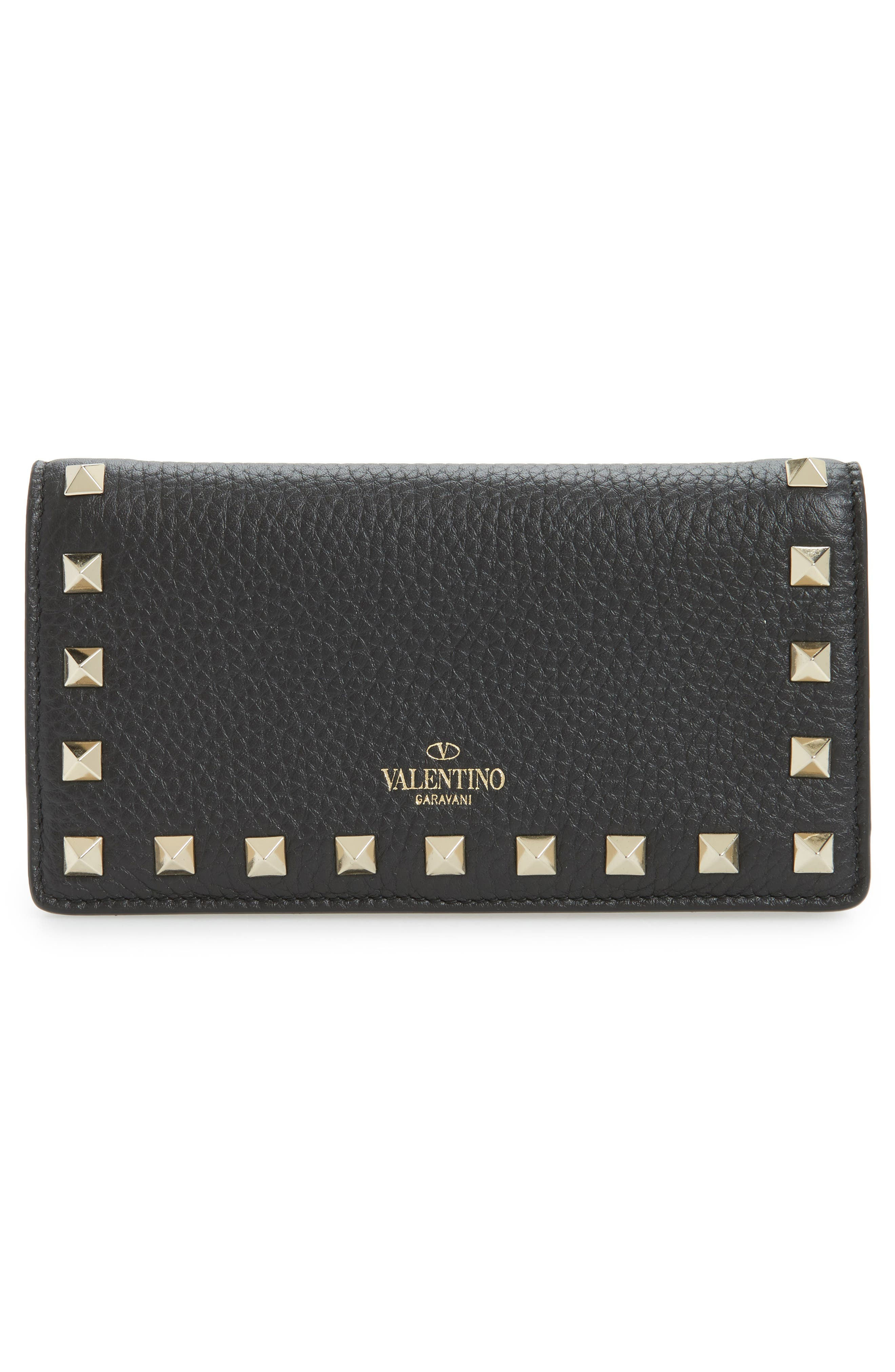 Rockstud Calfskin Leather Wallet,                             Alternate thumbnail 4, color,                             Nero
