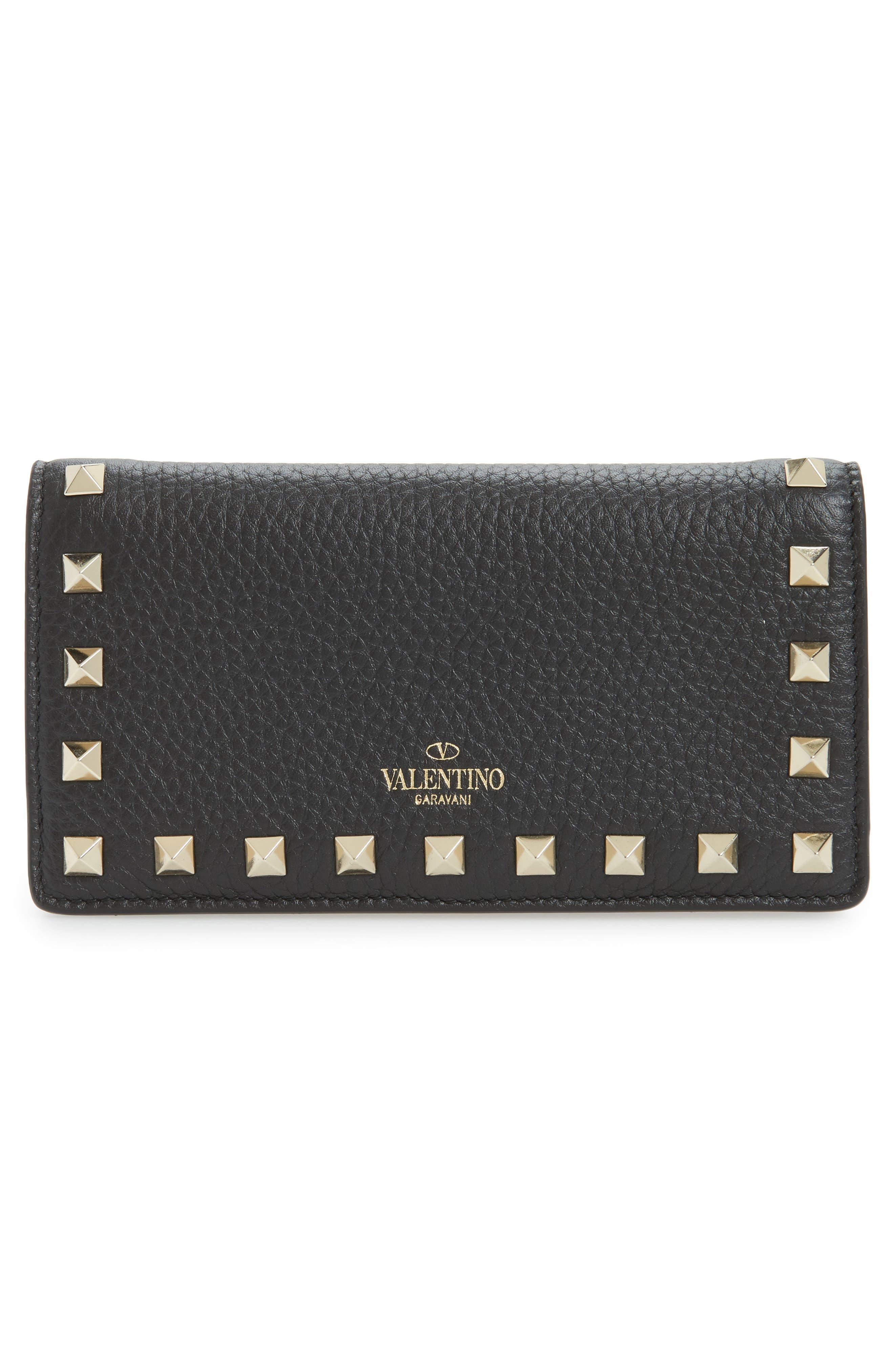 Rockstud Calfskin Leather Wallet,                             Alternate thumbnail 4, color,                             Nero