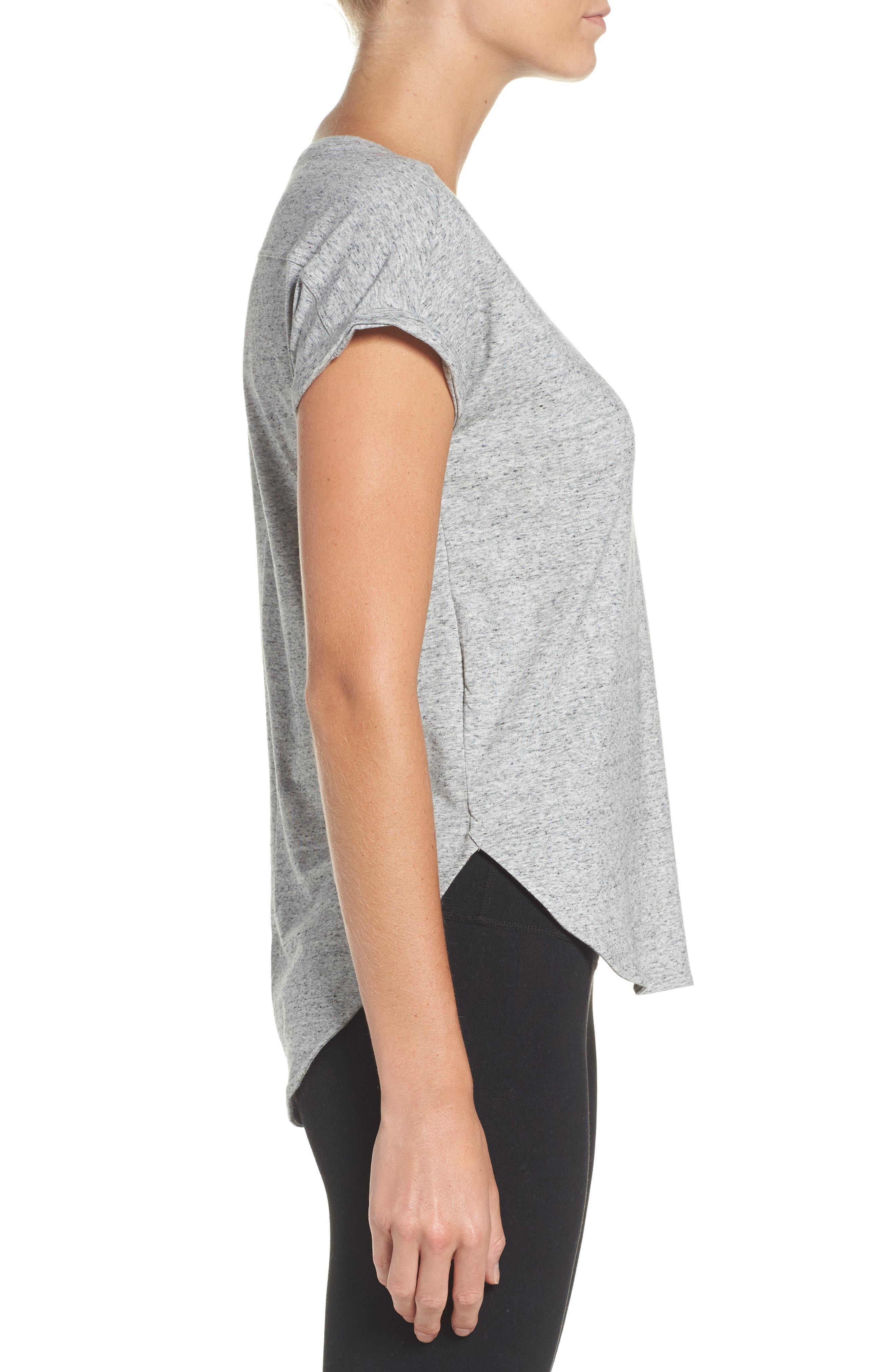Performer High/Low Climalite<sup>®</sup> Tee,                             Alternate thumbnail 3, color,                             Grey
