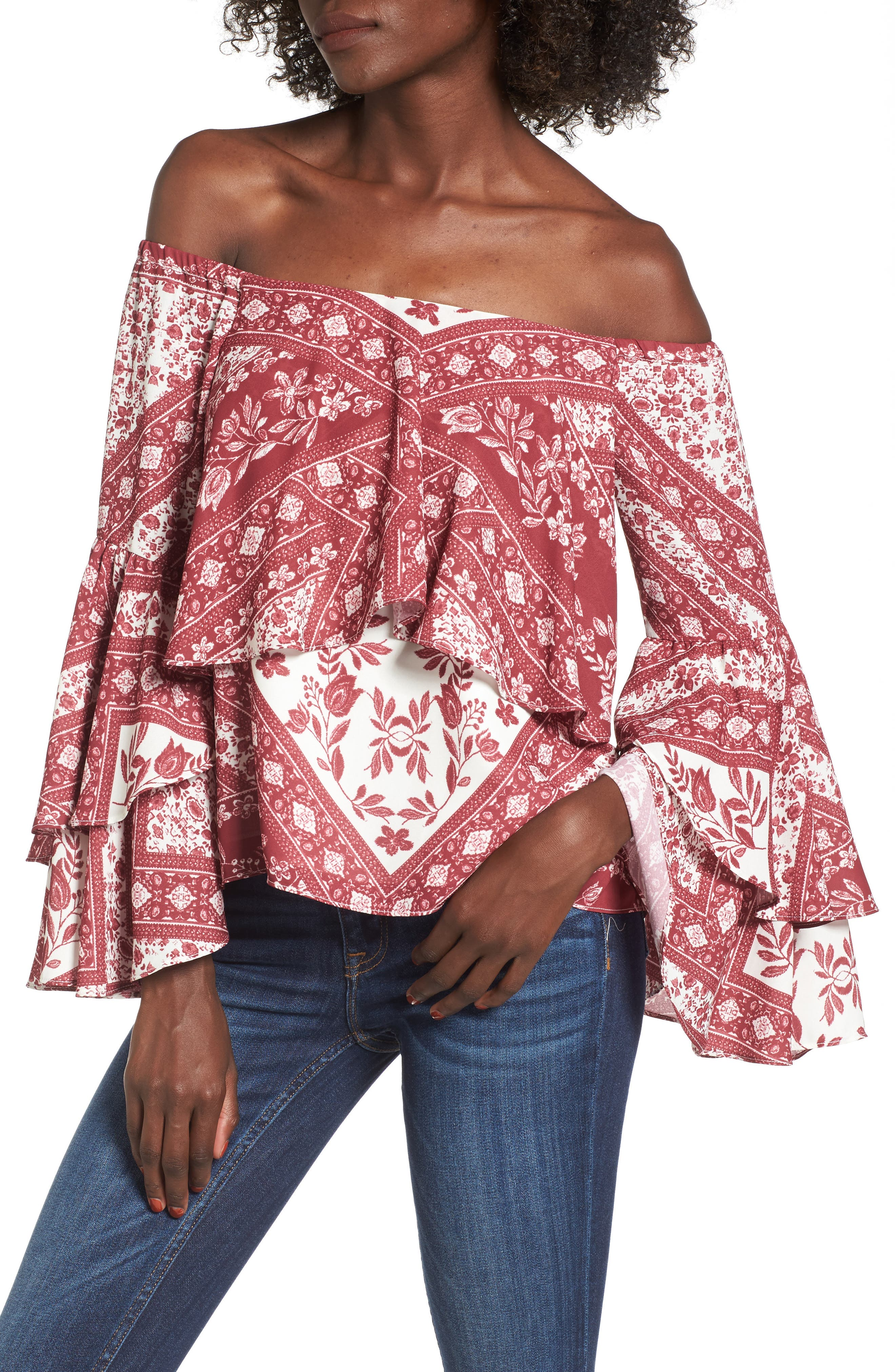 Chelsea Off the Shoulder Ruffle Blouse,                         Main,                         color, Shiraz Tapestry