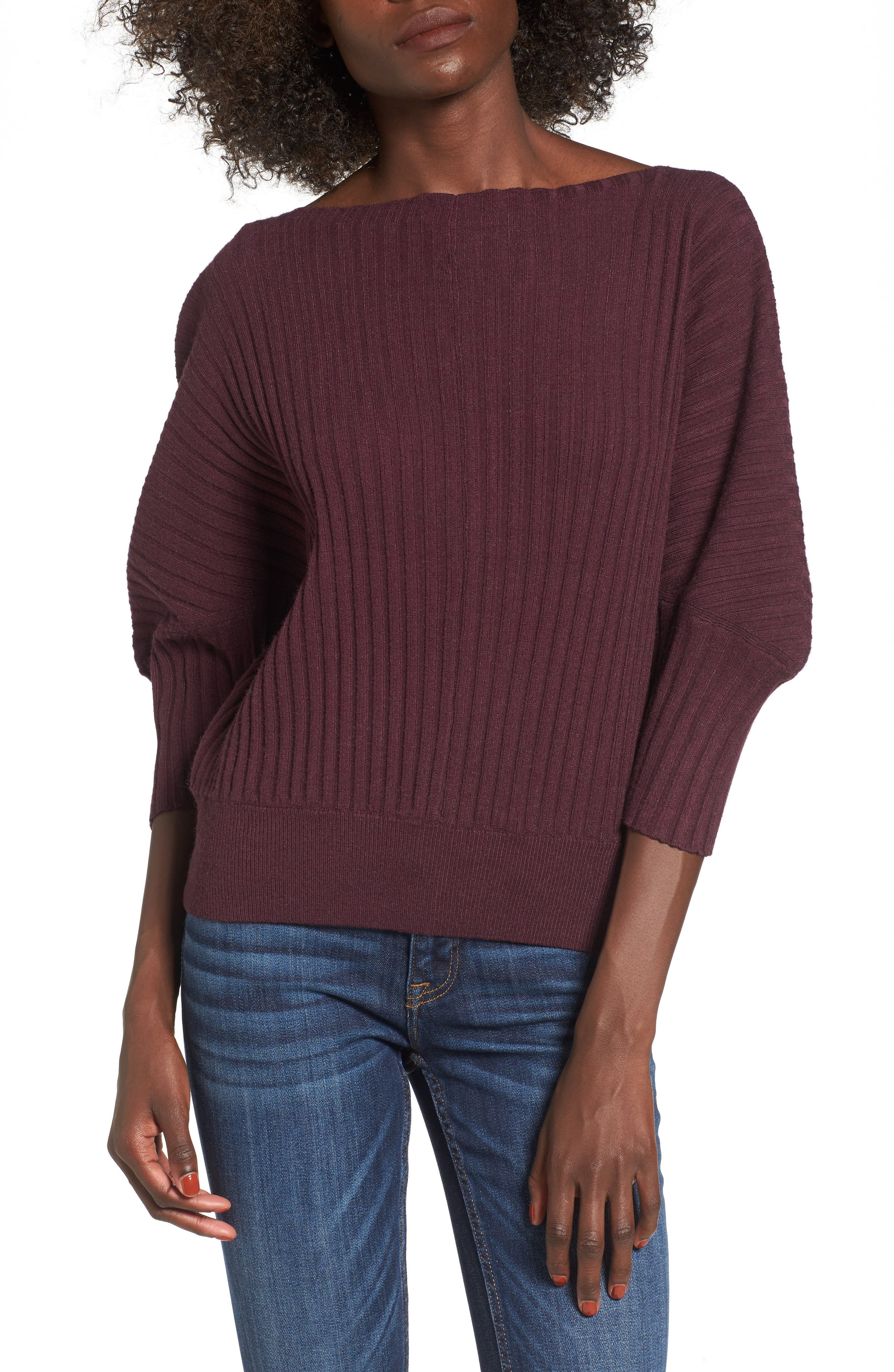 J.O.A. Rib Knit Blouson Sweater