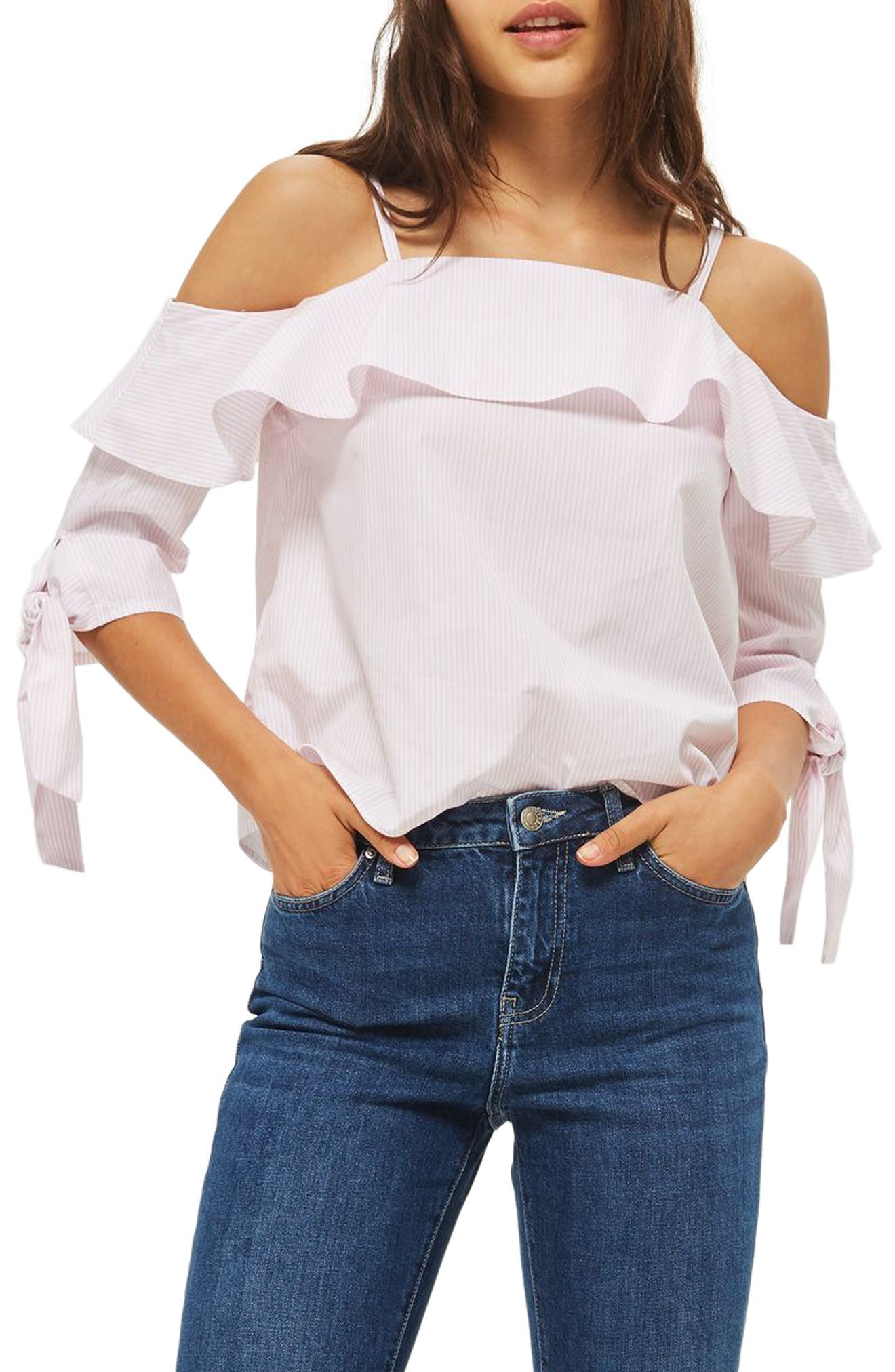 TOPSHOP Stripe Cold Shoulder Top