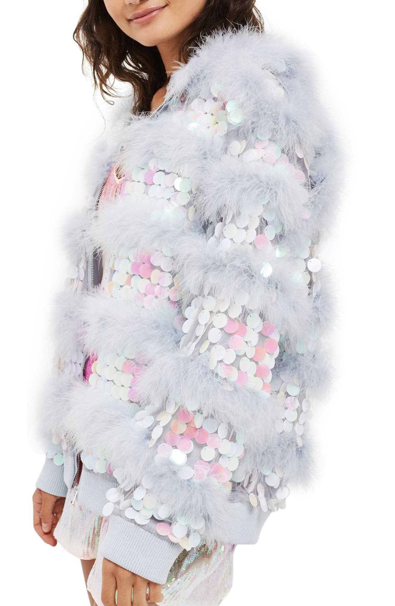Madge Paillette & Feather Hooded Jacket,                             Main thumbnail 1, color,                             Lilac Multi