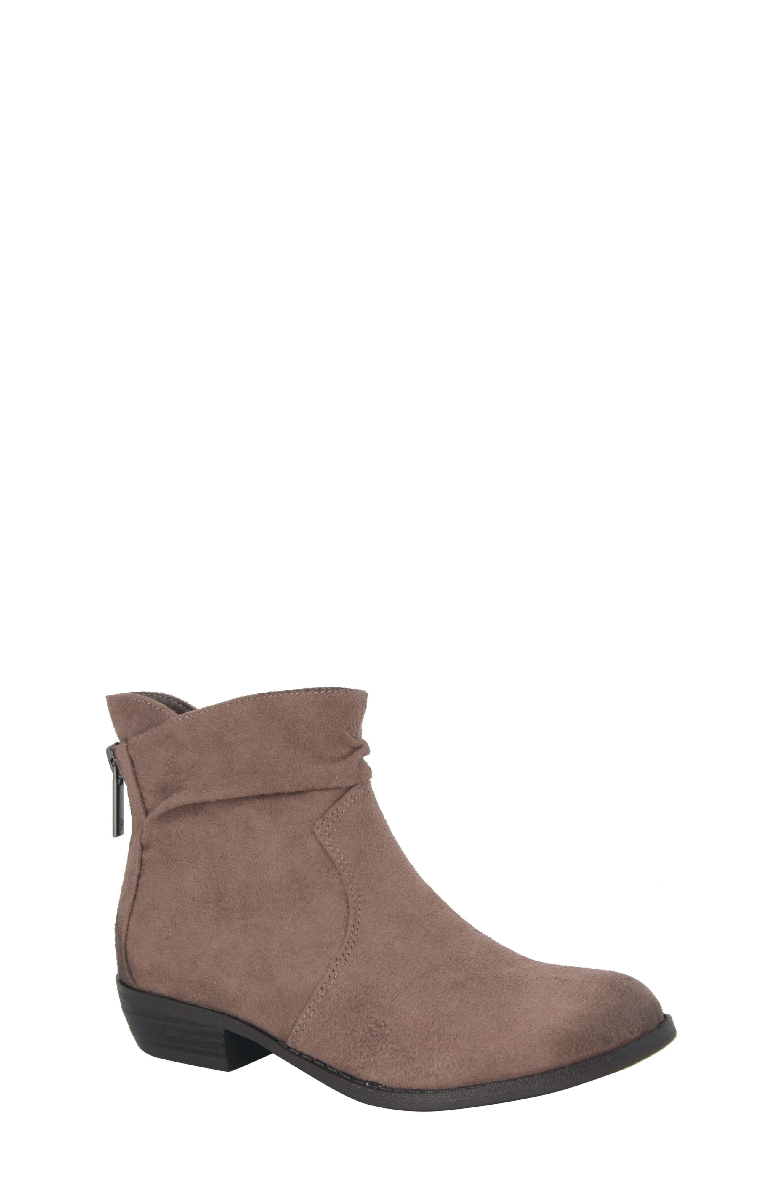 Delia Slightly Slouchy Bootie,                             Main thumbnail 1, color,                             Taupe Microsuede