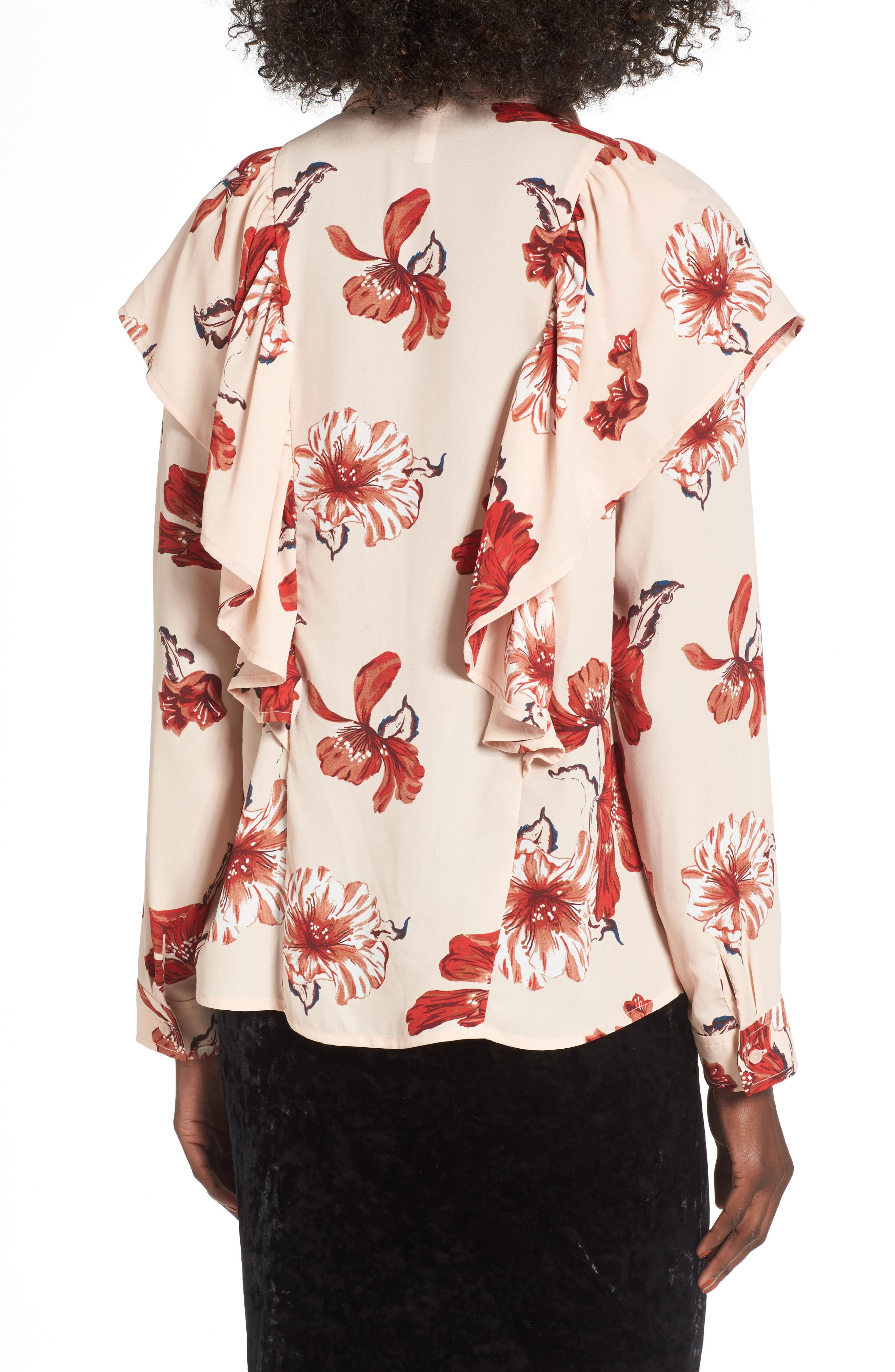 Floral Ruffle Top,                             Alternate thumbnail 2, color,                             Pink Hero Expressive Floral