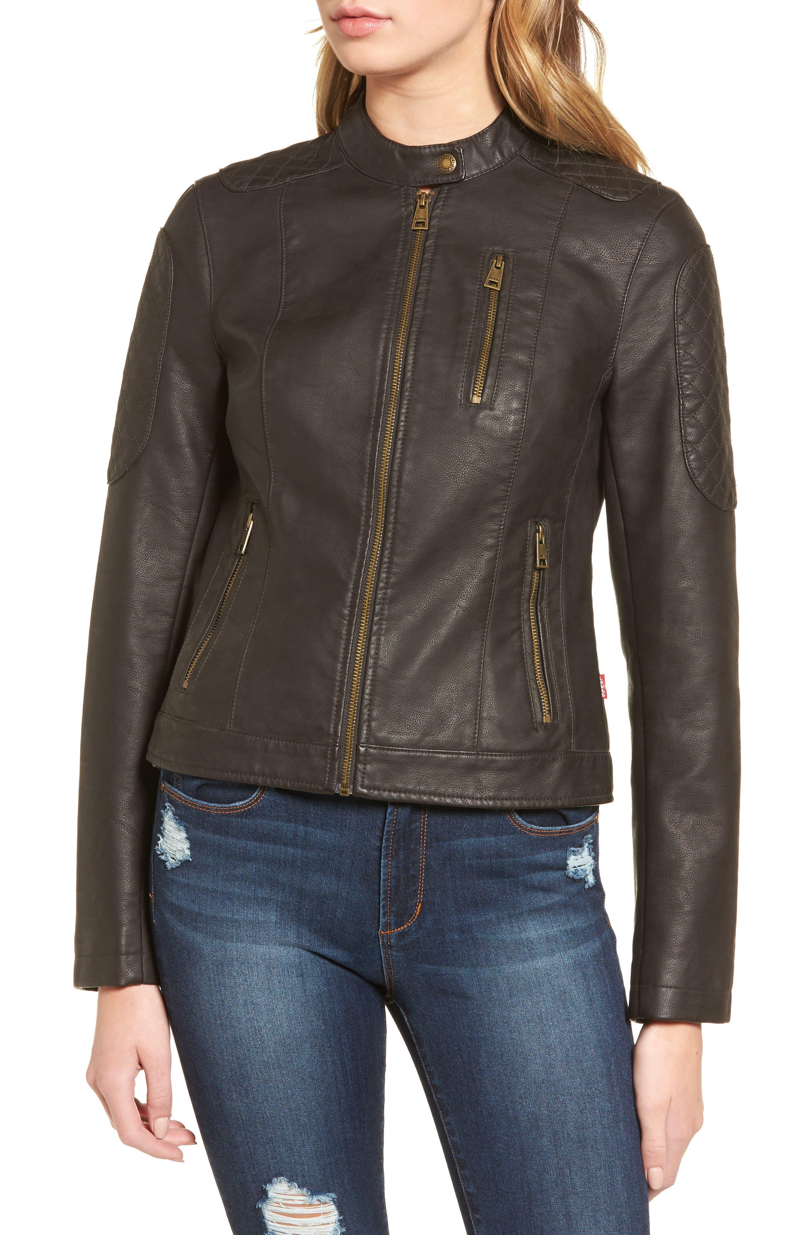 LEVIS<sup>®</sup> Faux Leather Moto Jacket,                             Alternate thumbnail 4, color,                             Brown