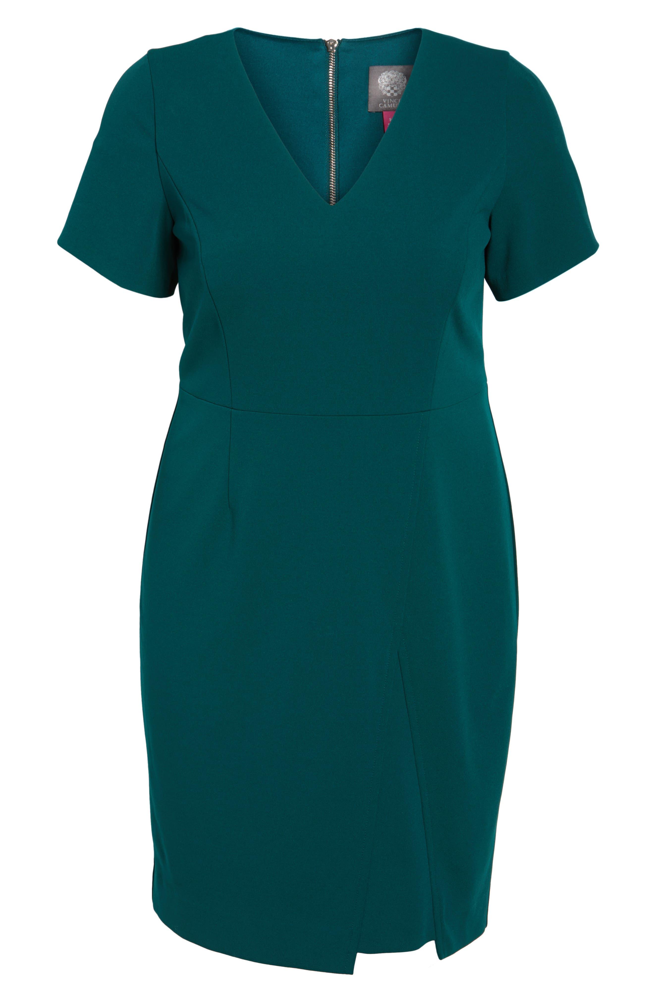 Scuba Crepe Sheath Dress,                             Alternate thumbnail 6, color,                             Dark Green