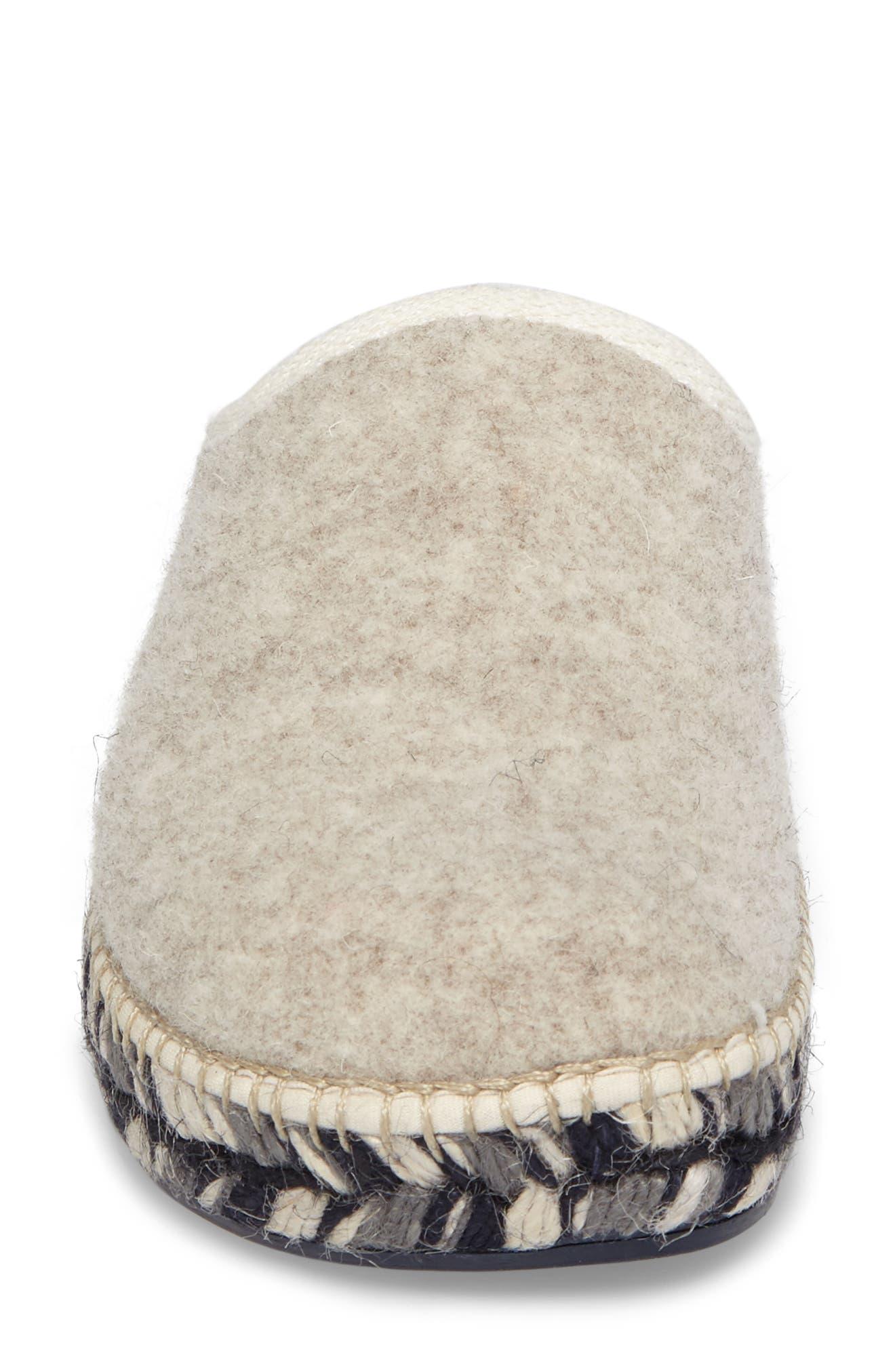 Mysen Faux Fur Lined Espadrille Slipper,                             Alternate thumbnail 4, color,                             Ecru Felt