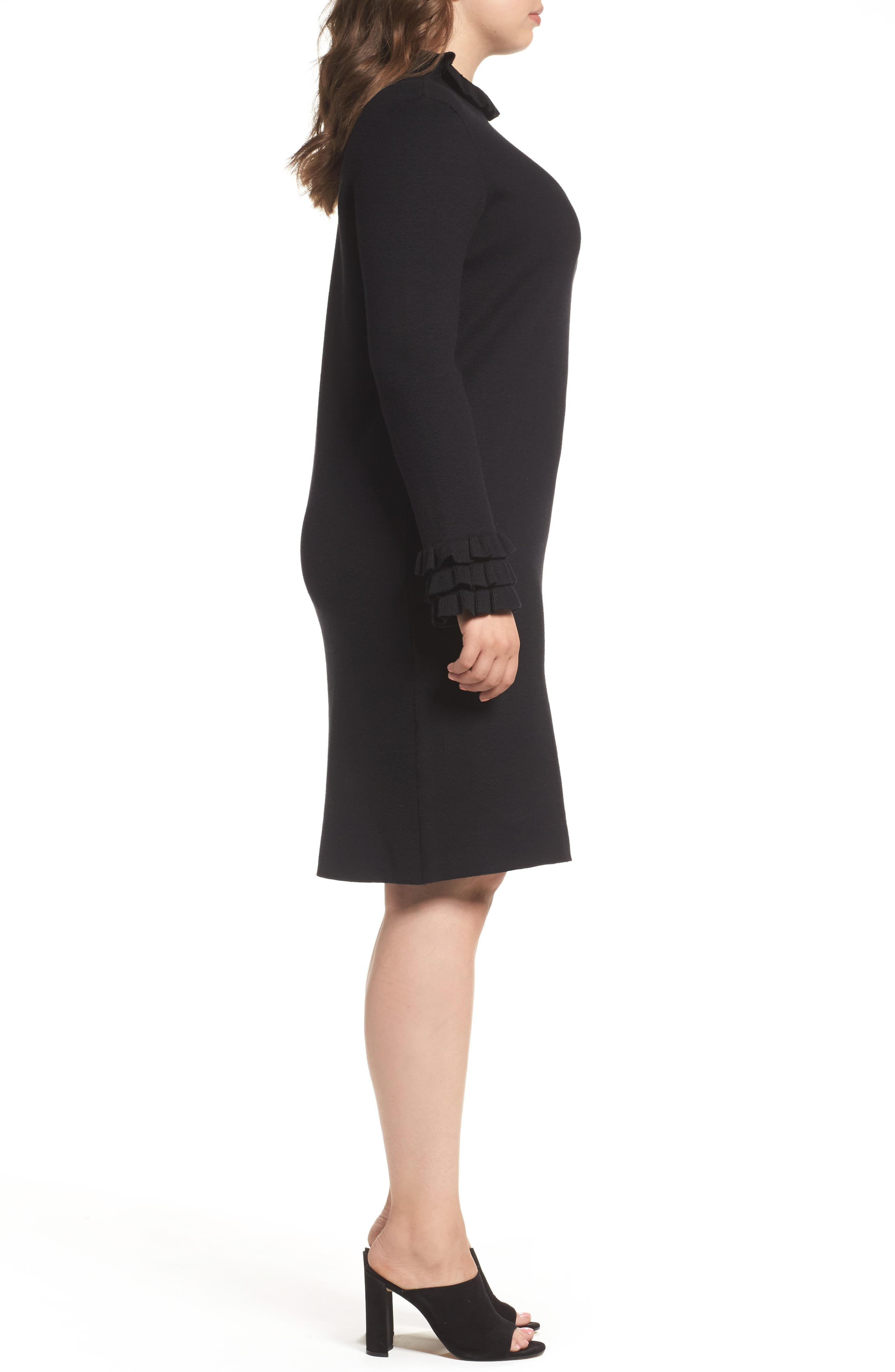 Ruffle Sleeve Sweater Dress,                             Alternate thumbnail 3, color,                             Black