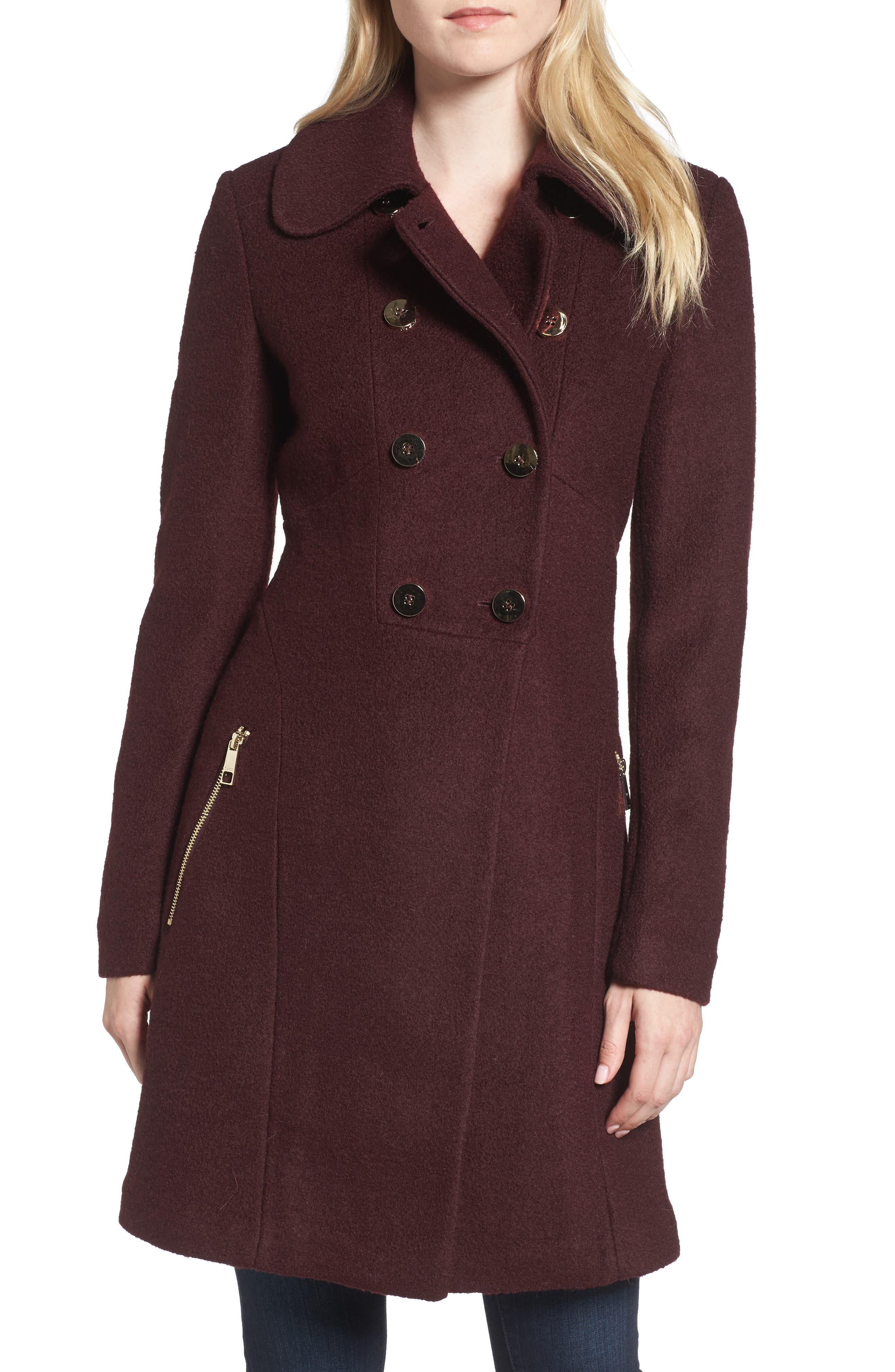 Double Breasted Boiled Wool Peacoat,                         Main,                         color, Wine