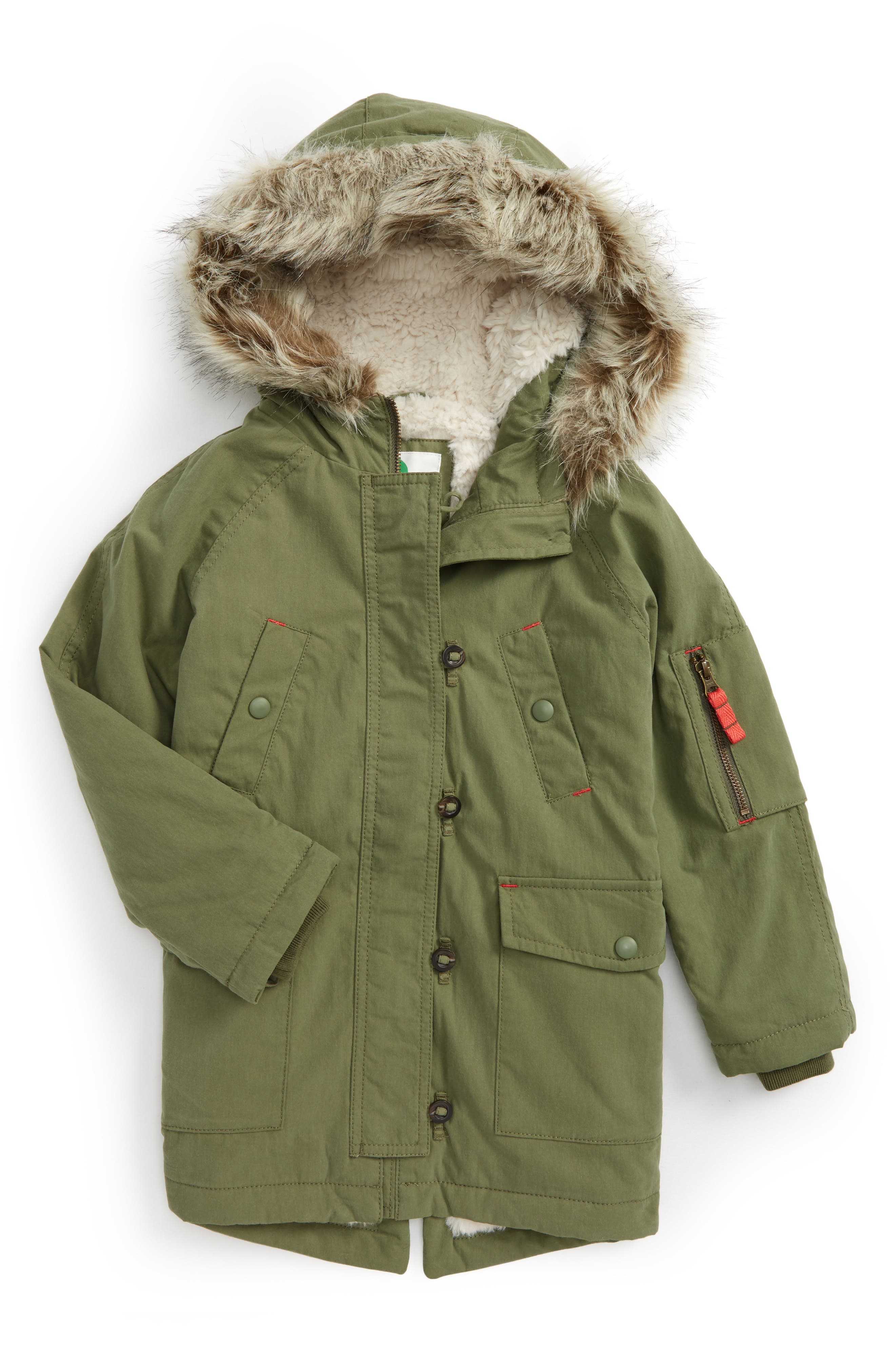 Parka with Faux Fur Trim,                         Main,                         color, Utility Green