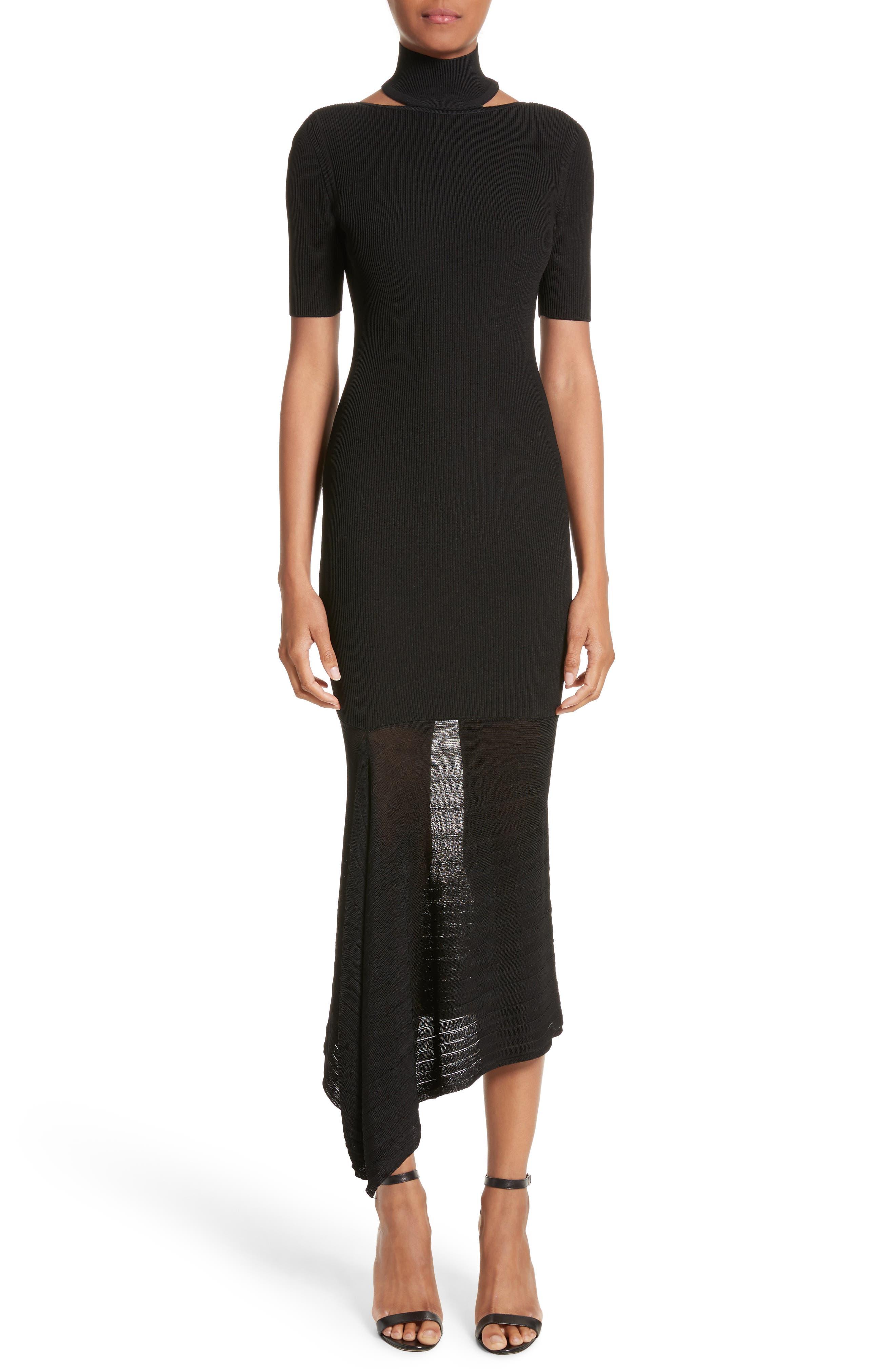 Asymmetrical Knit Dress,                             Main thumbnail 1, color,                             Black