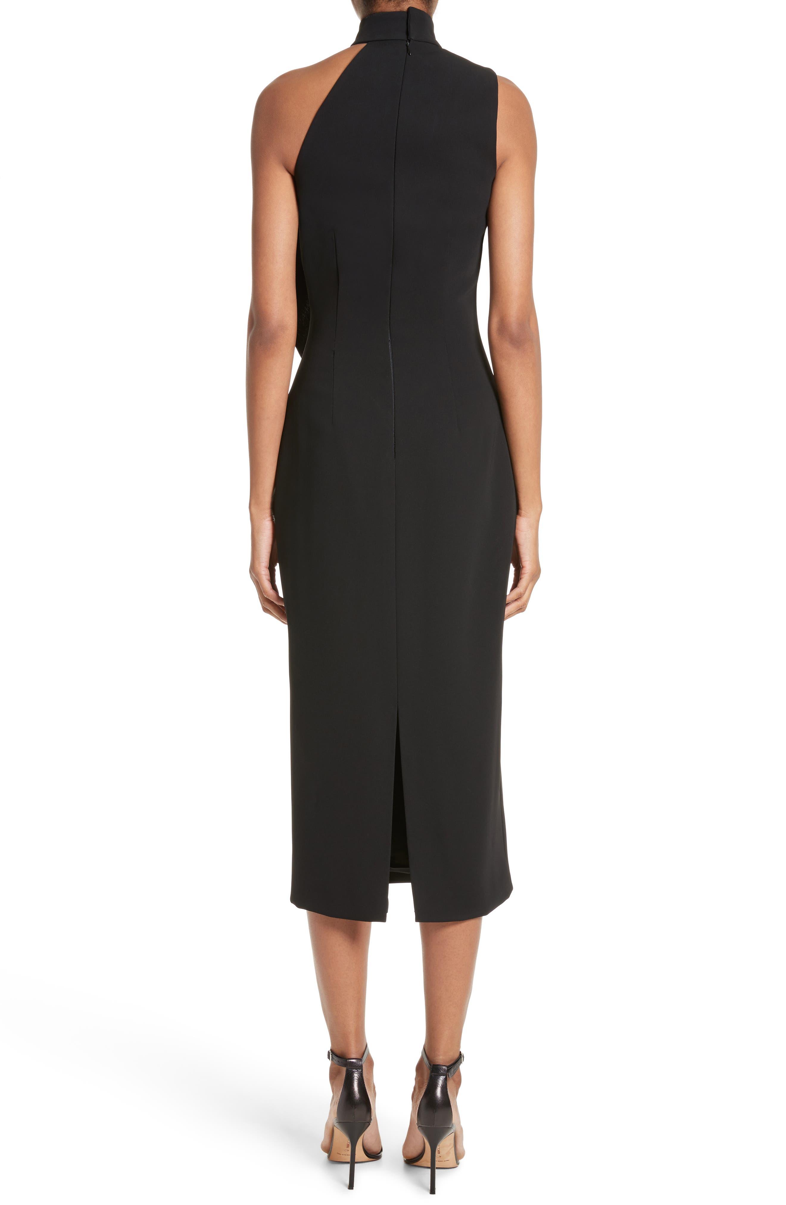 Elettra Ruffle Front Bonded Crepe Halter Dress,                             Alternate thumbnail 3, color,                             Black/ Graphite