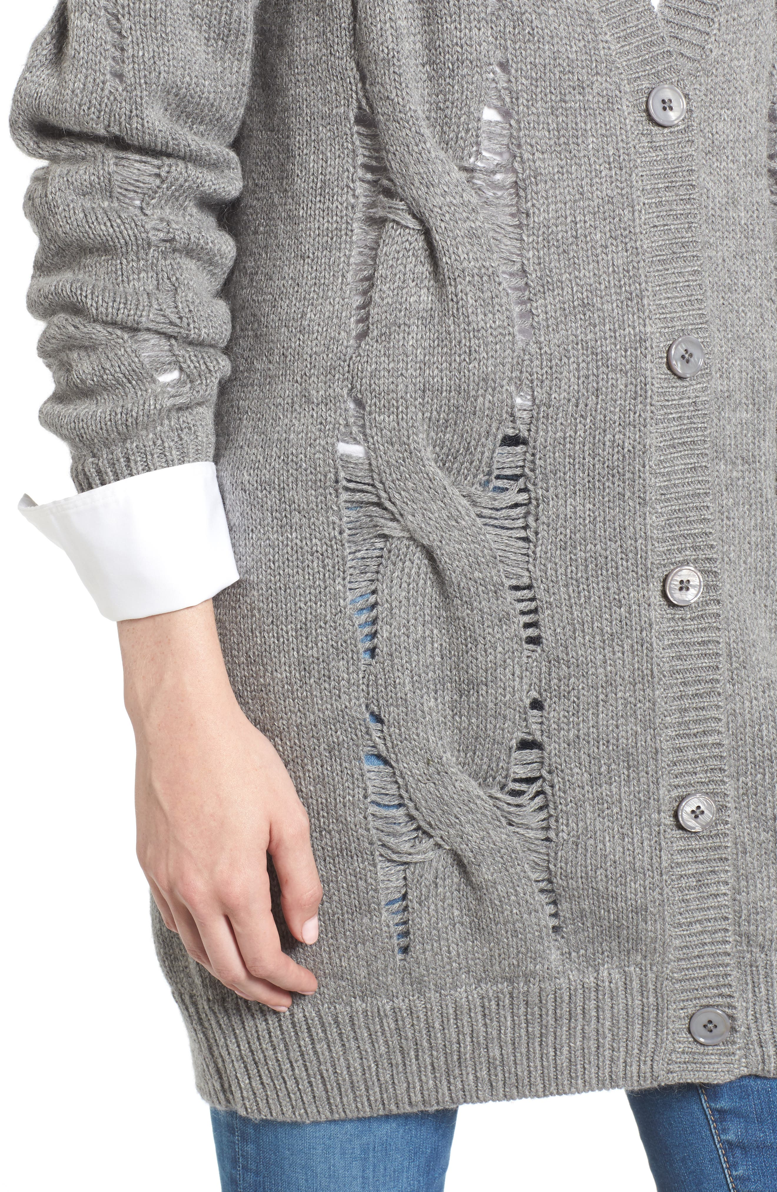 Sandrine Longline Cardigan Sweater,                             Alternate thumbnail 4, color,                             Pebble Grey