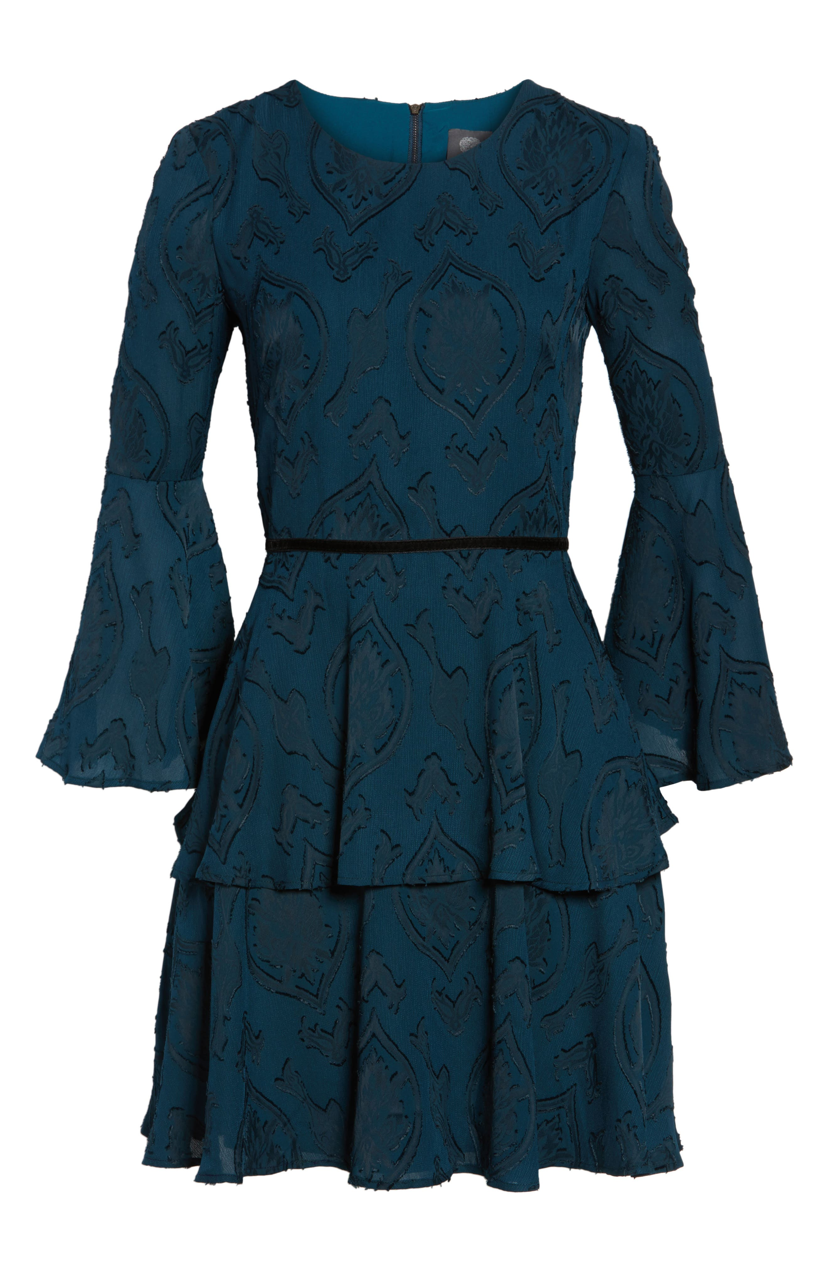 Tiered Chiffon Fit & Flare Dress,                             Alternate thumbnail 6, color,                             Teal/ Black